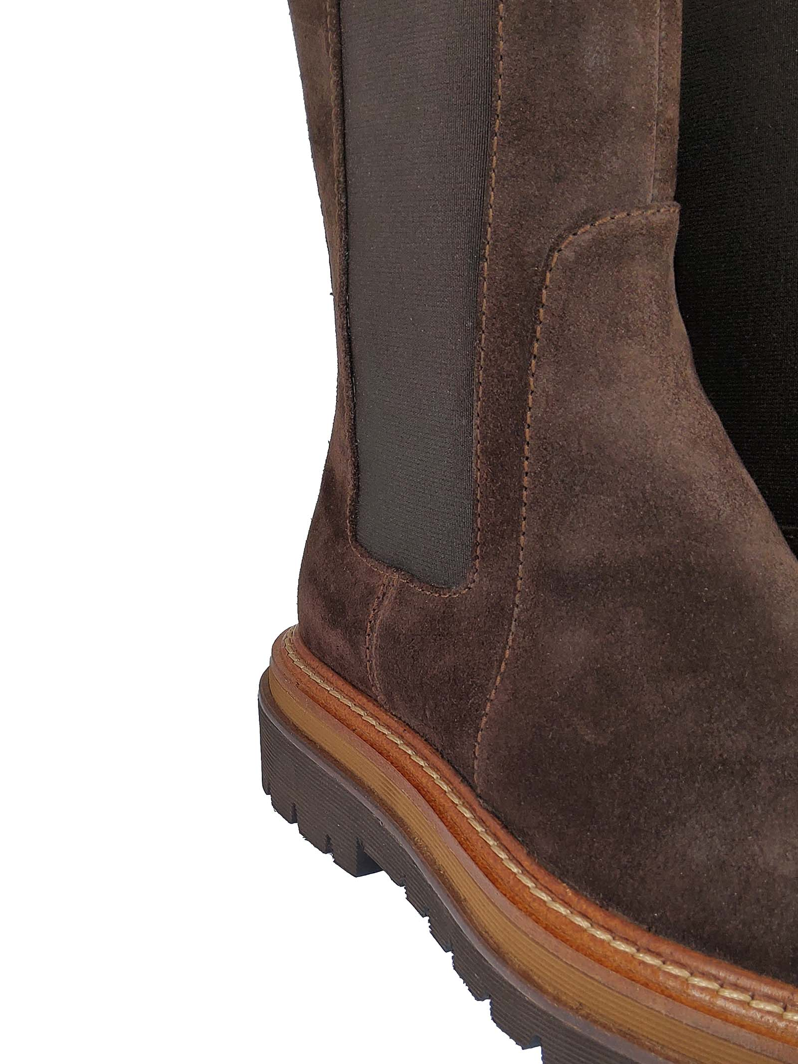 Women's Shoes Beatles Cora Chelsa in Brown Suede with Matching Side Elastics and Tank Sole Bruno Premi | Ankle Boots | BC1904X013
