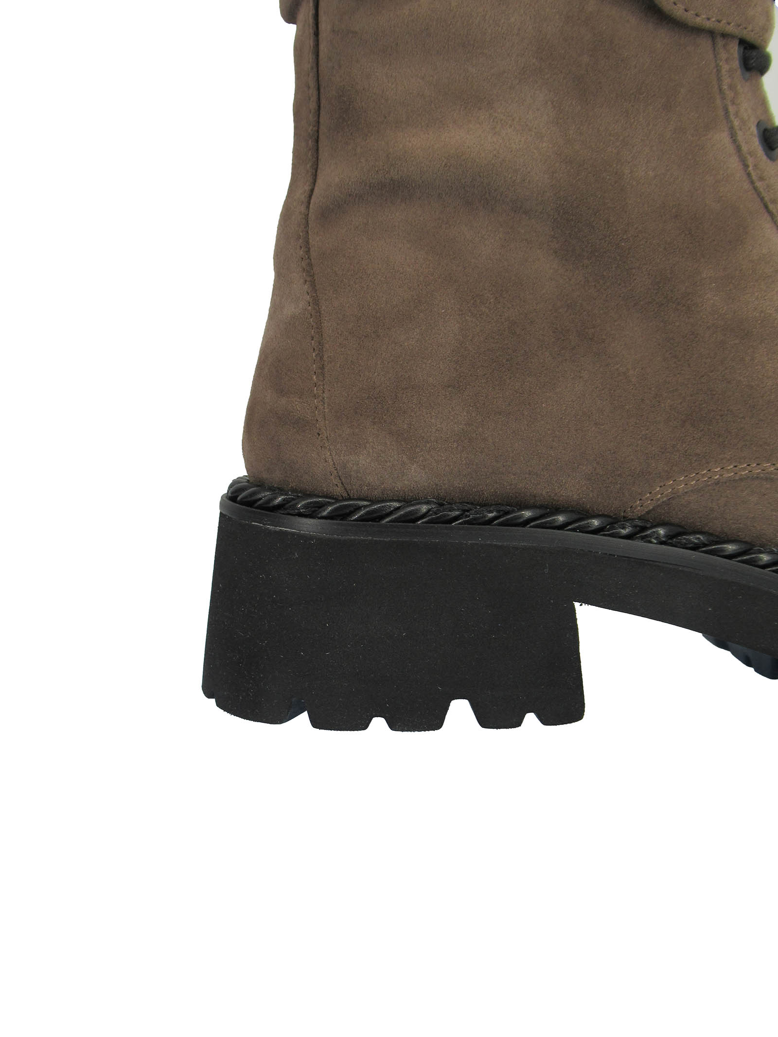 Women's Shoes Amphibious Laced Ankle Boots in Taupe Suede with Strap and Accessory Rubber Sole Tank Bruno Premi | Ankle Boots | BC3406X023