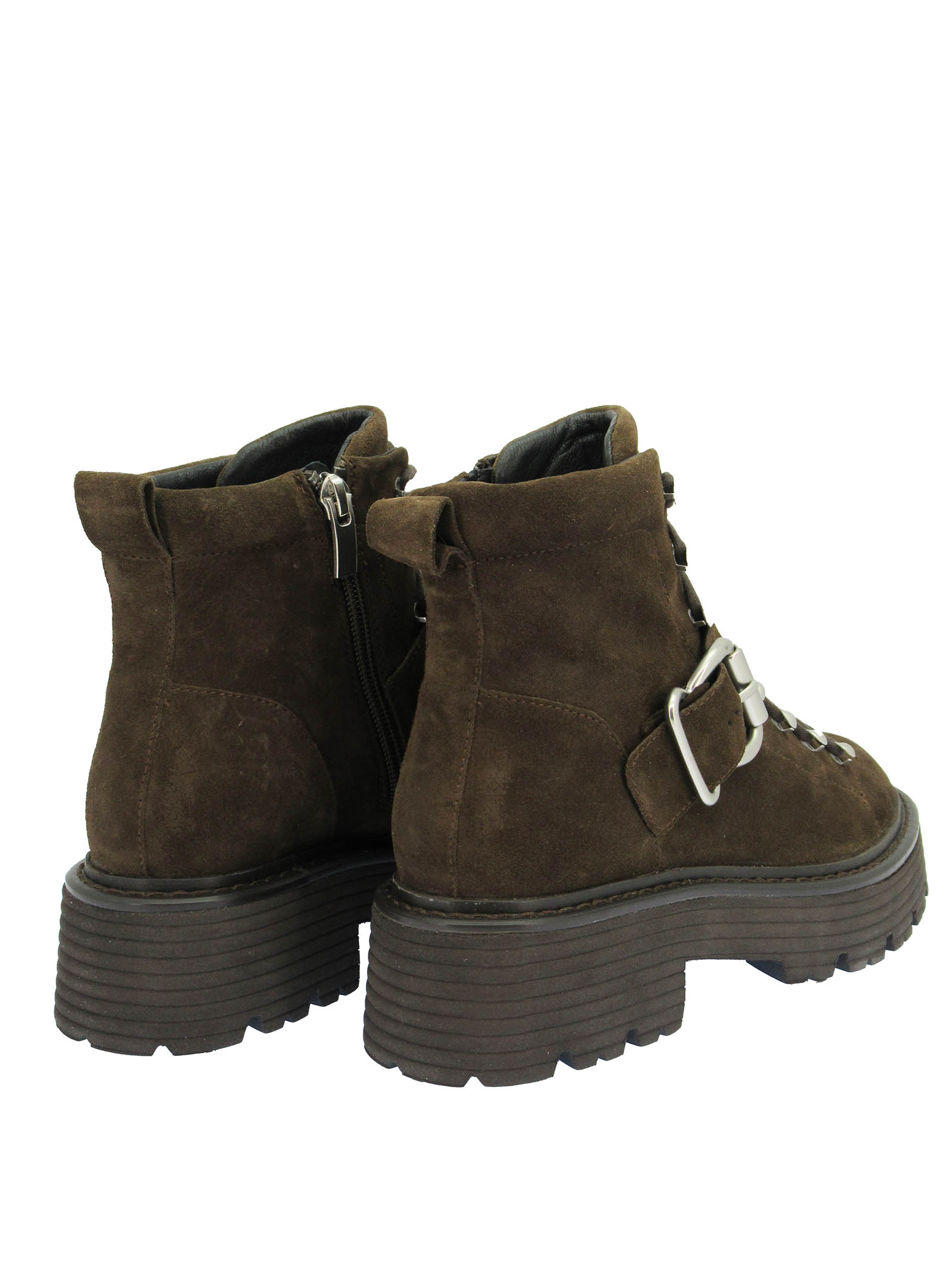 Women's Shoes Laced Ankle Boots in Brown Suede with Trekking Lacing and Tank Sole Bruno Premi   Ankle Boots   BC3702X014
