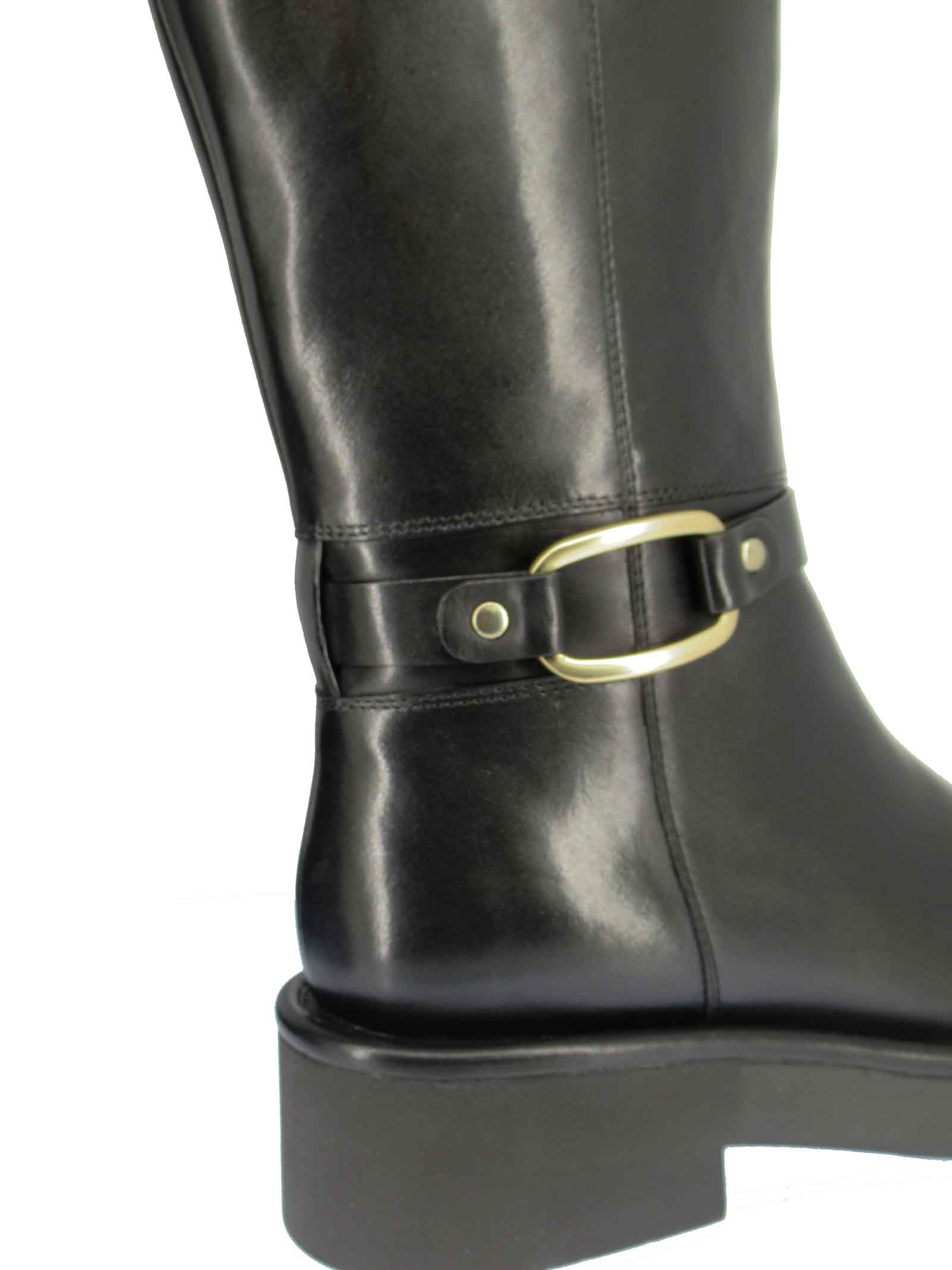 Women's Shoes Boots in Black Leather with Gold Side Buckle and Rubber Sole Bruno Premi   Ankle Boots   BC4002X001