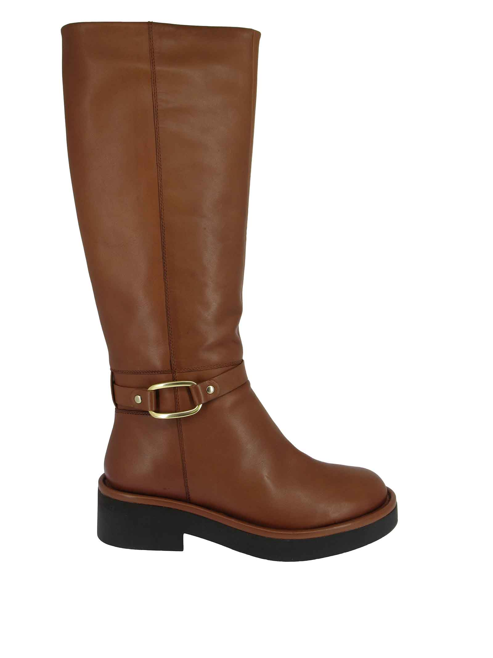 Women's Shoes Boots in Brown Leather with Gold Side Buckle and Rubber Sole Bruno Premi | Ankle Boots | BC4002X034