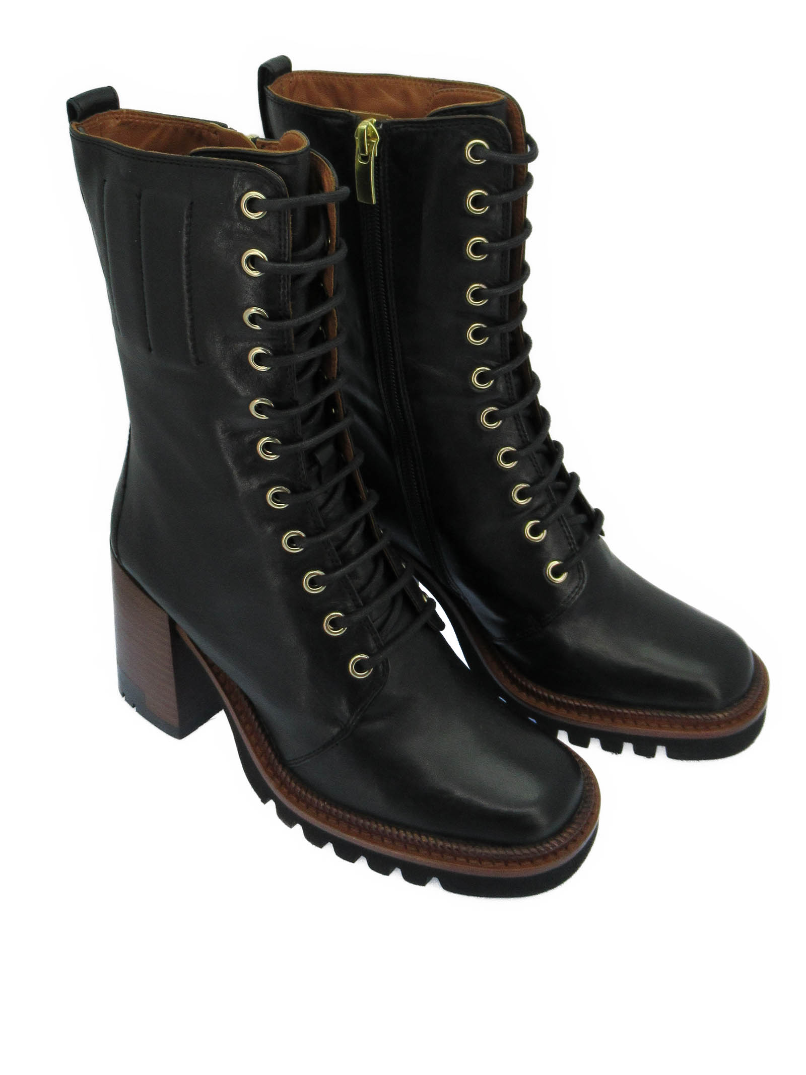 Women's Shoes Amphibious Lace-up Ankle Boots in Black Leather with High Heel and Plateau Tank Bruno Premi | Ankle Boots | BC4704X001