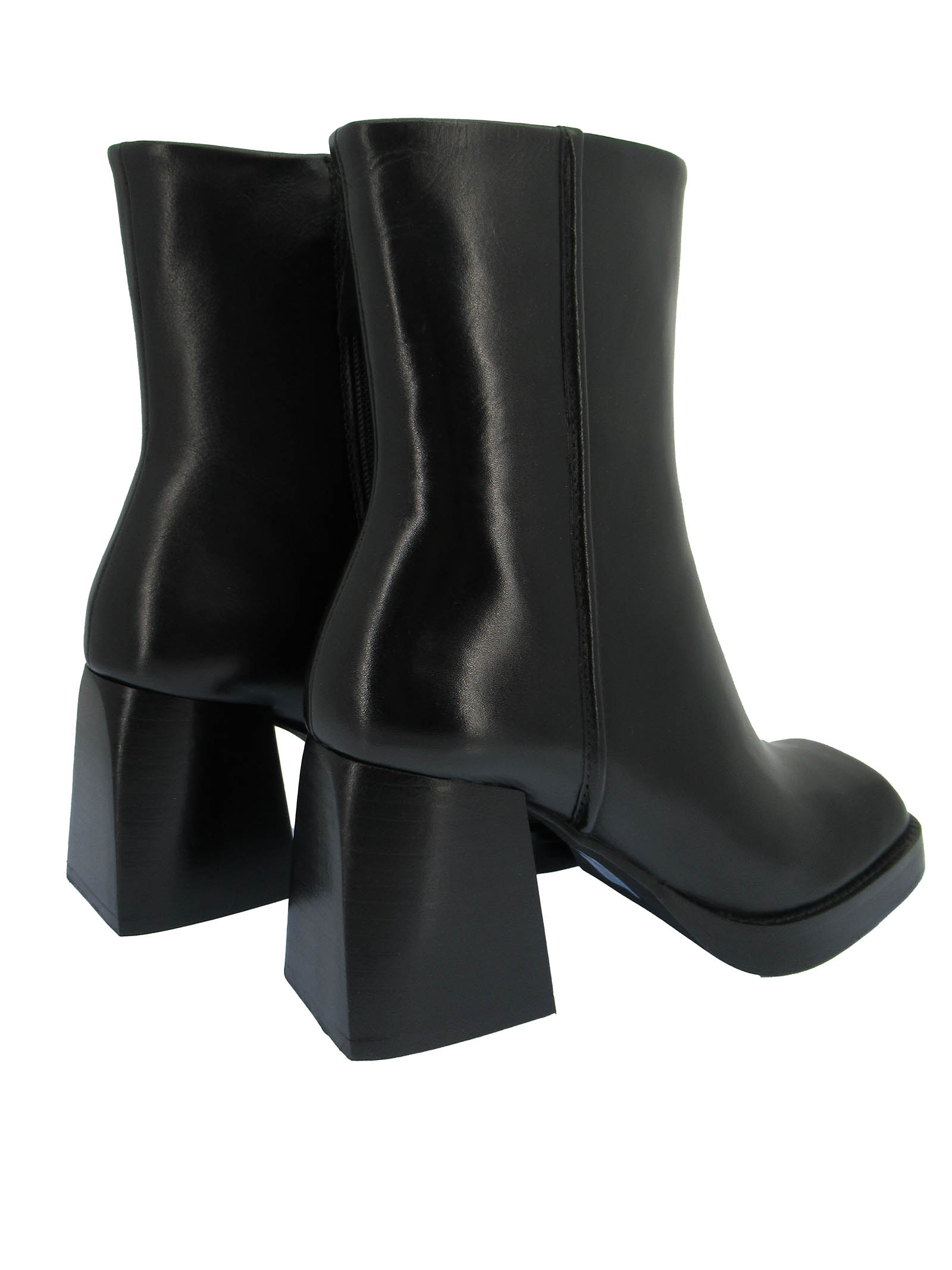Women's Shoes Ankle boots in Black Leather Square Toe High Heel Non-slip Rubber Sole Bruno Premi   Ankle Boots   BC5101X001
