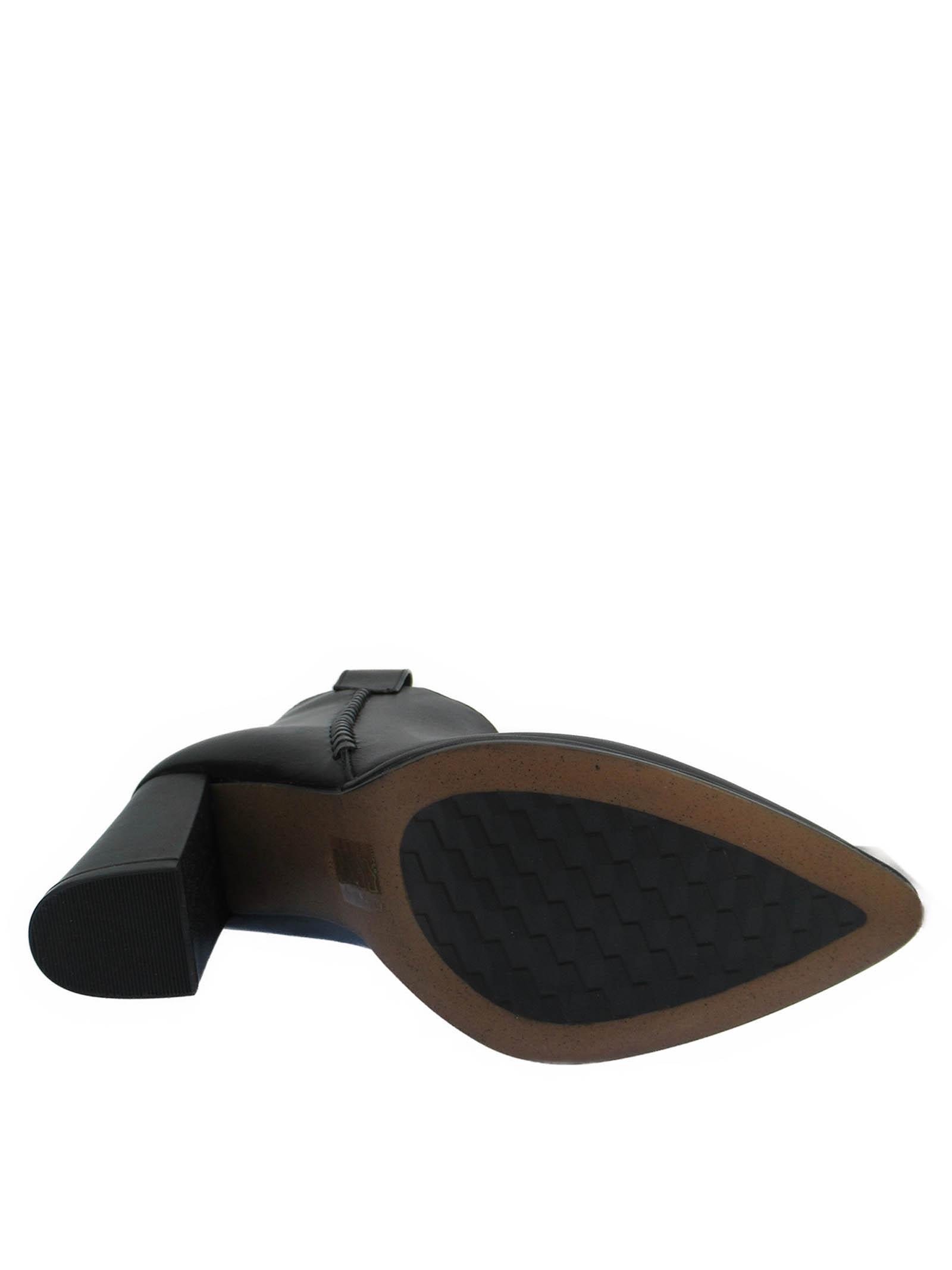 Calzature Donna Stivaletti in Pelle Nera con Treccia in Pelle a Tono Punta a Punta e Tacco Alto Bruno Premi | Stivaletti | BC6001X001
