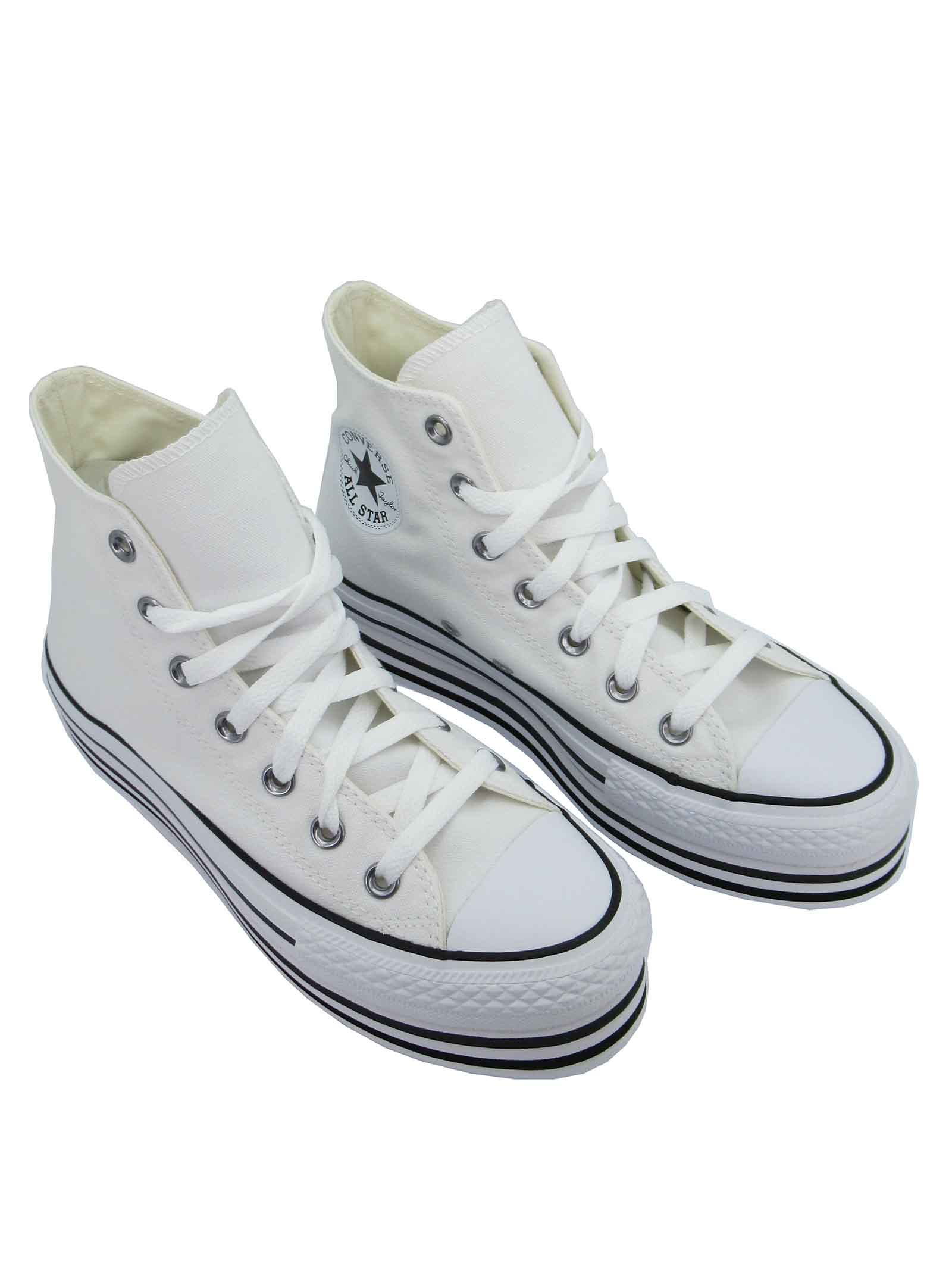 Calzature Donna Sneakers Stivaletto Chuck Taylor Hight Top in Canvas Bianco e Fondo Zeppa Converse   Sneakers   CHUCK TAYLOR564485C