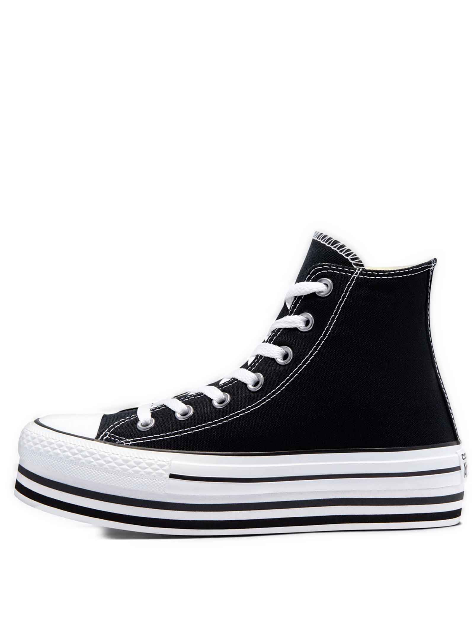 Women's Shoes Sneakers Chuck Taylor Hight Top in Black Canvas and Platform Sole Converse   Sneakers   CHUCK TAYLOR564486C