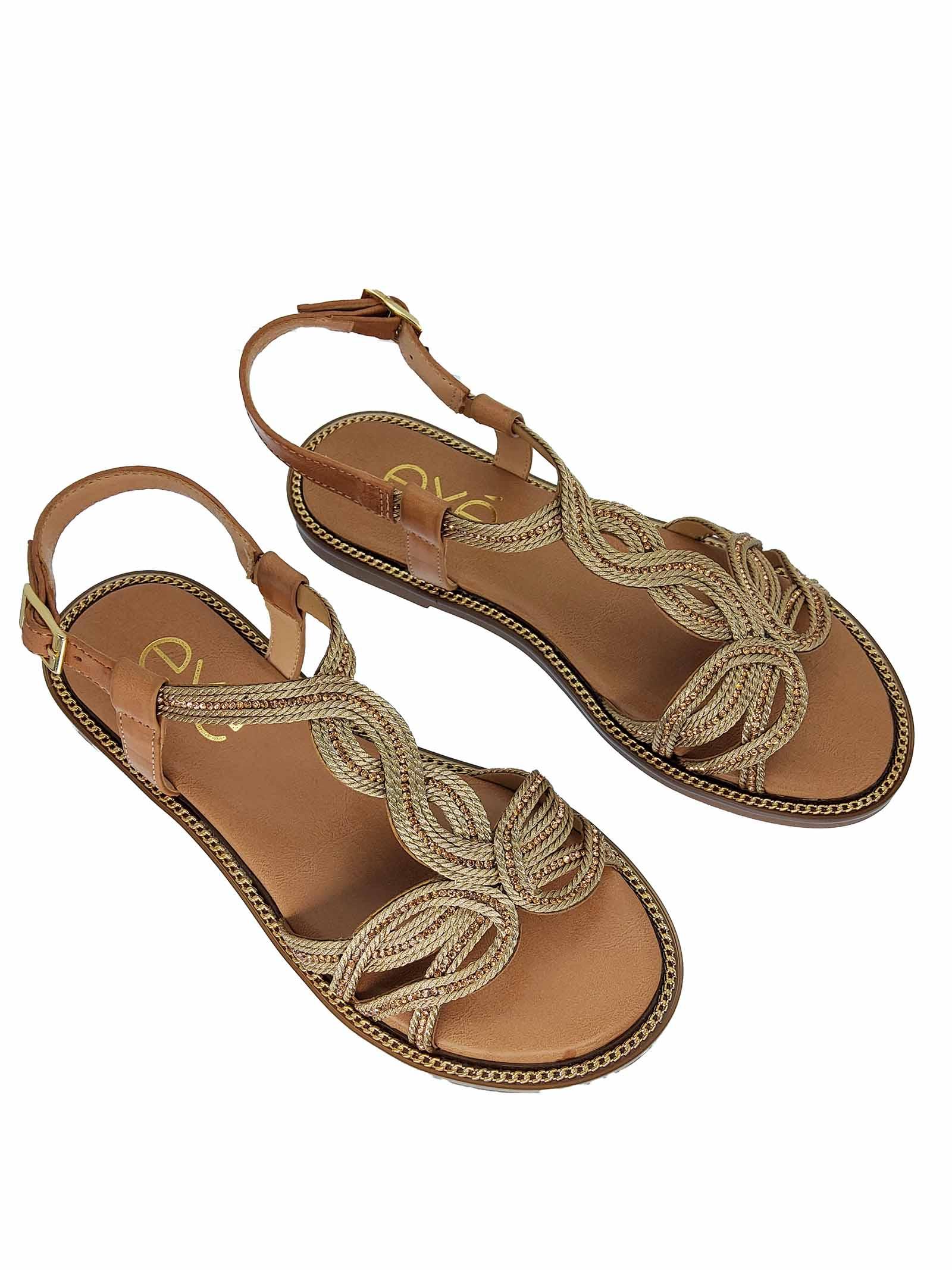 Calzature Donna Sandali Bassi in Eco Pelle Nude Con Ricami in Oro e Cinturino alla Caviglia Exe   Sandali Flat   ARIANA516602