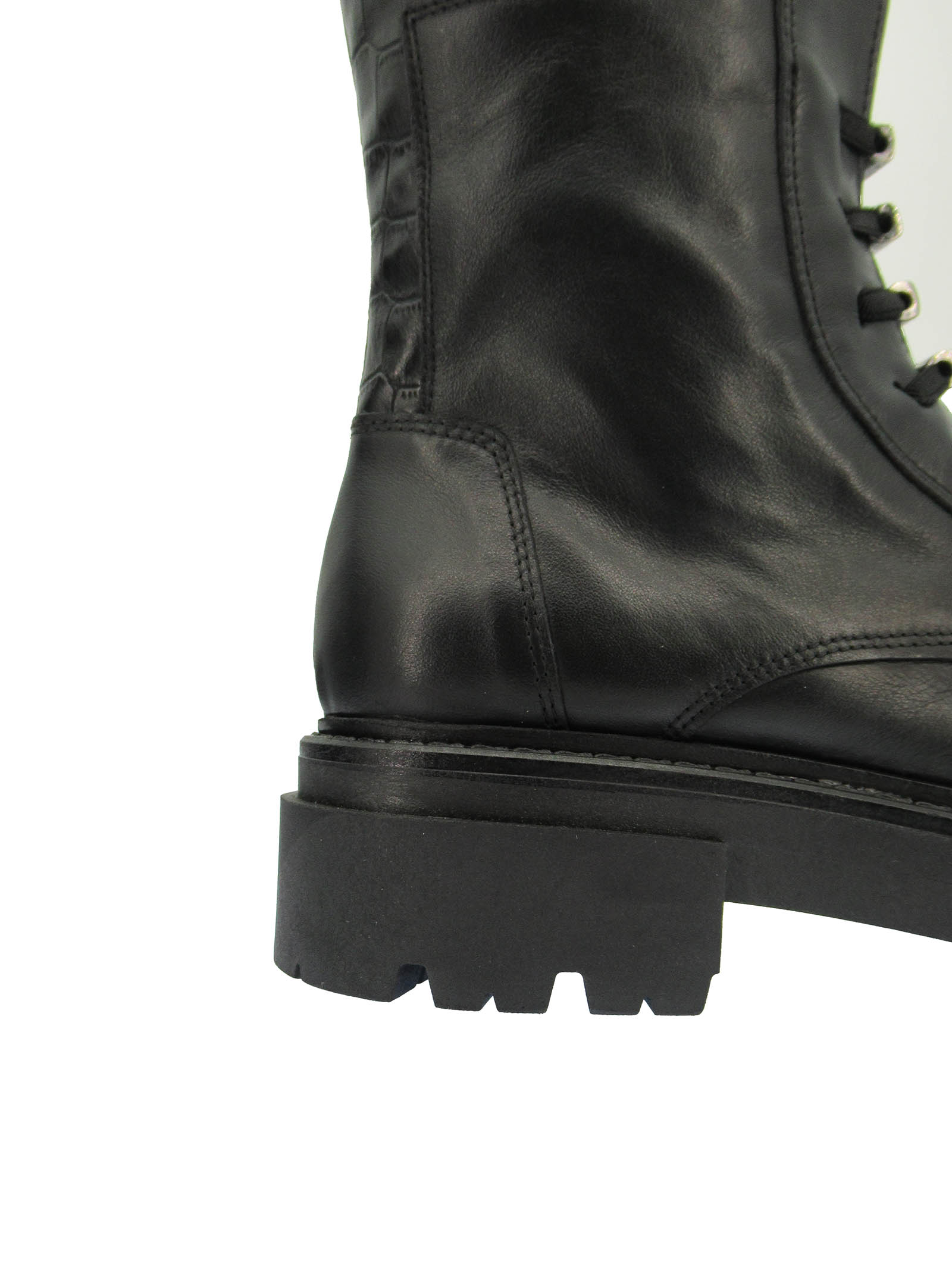 Women's Shoes Ankle Boots in Black Leather with Tank Sole and Elastic Laces Exe   Ankle Boots   N8100731001
