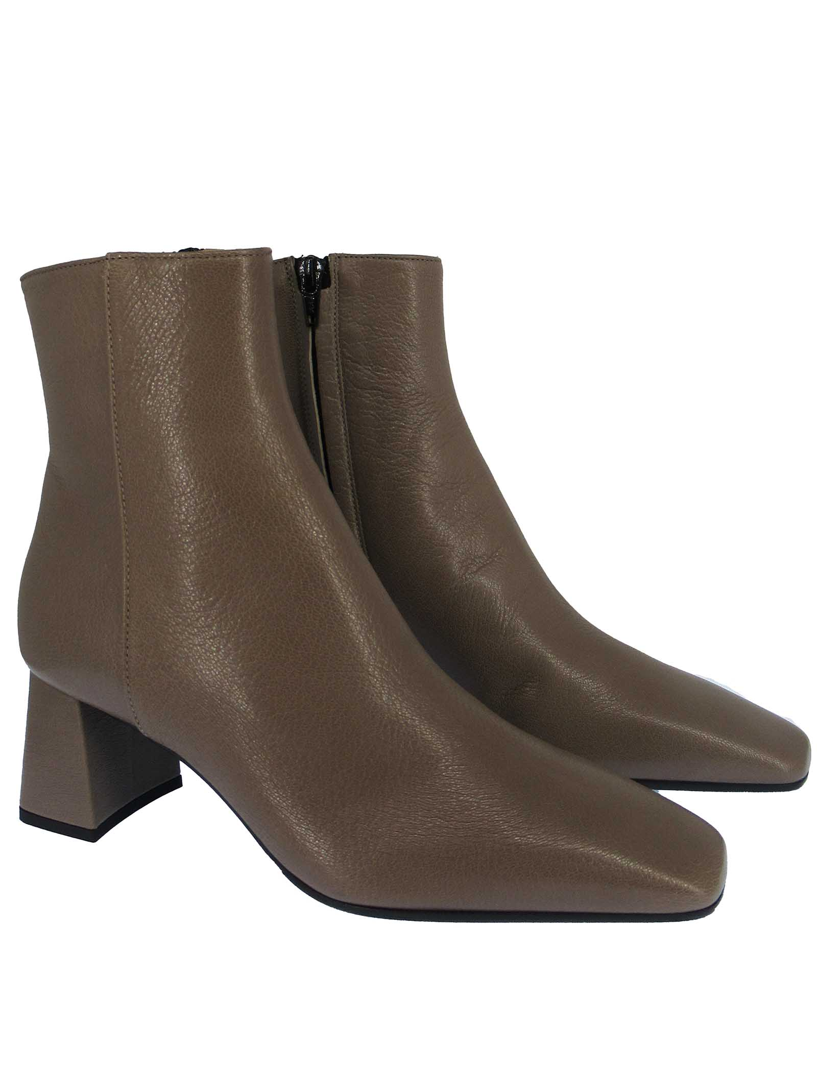 Women's Shoes Ankle Boots in Taupe Leather with Square Toe Side Zip and Medium Heel Fabio Rusconi | Ankle Boots | I-2099015