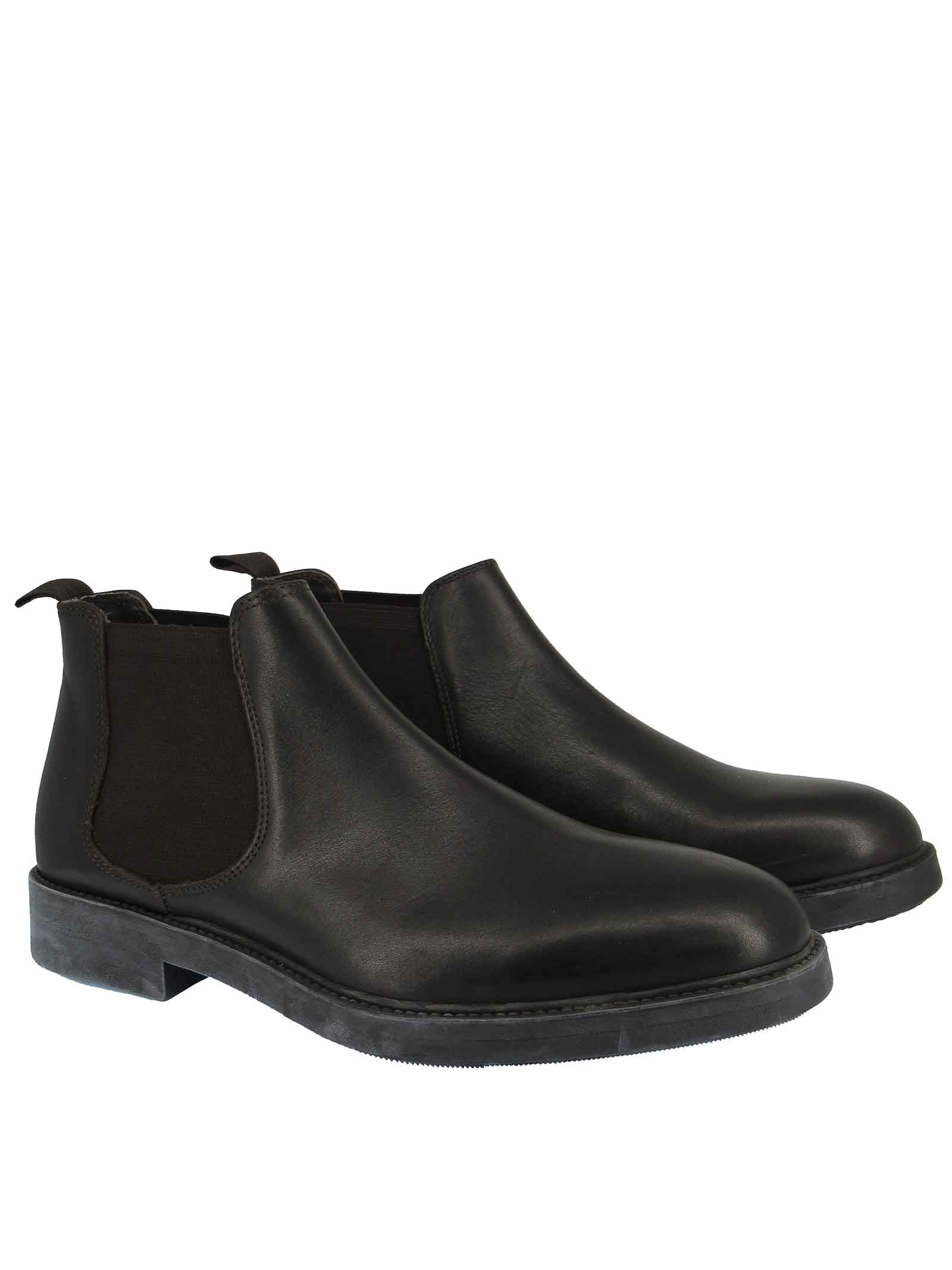 Men's Shoes Beatles in Black Leather with Side Elastic Bands and Waterproof Rubber Sole Florsheim   Ankle Boots   5185901