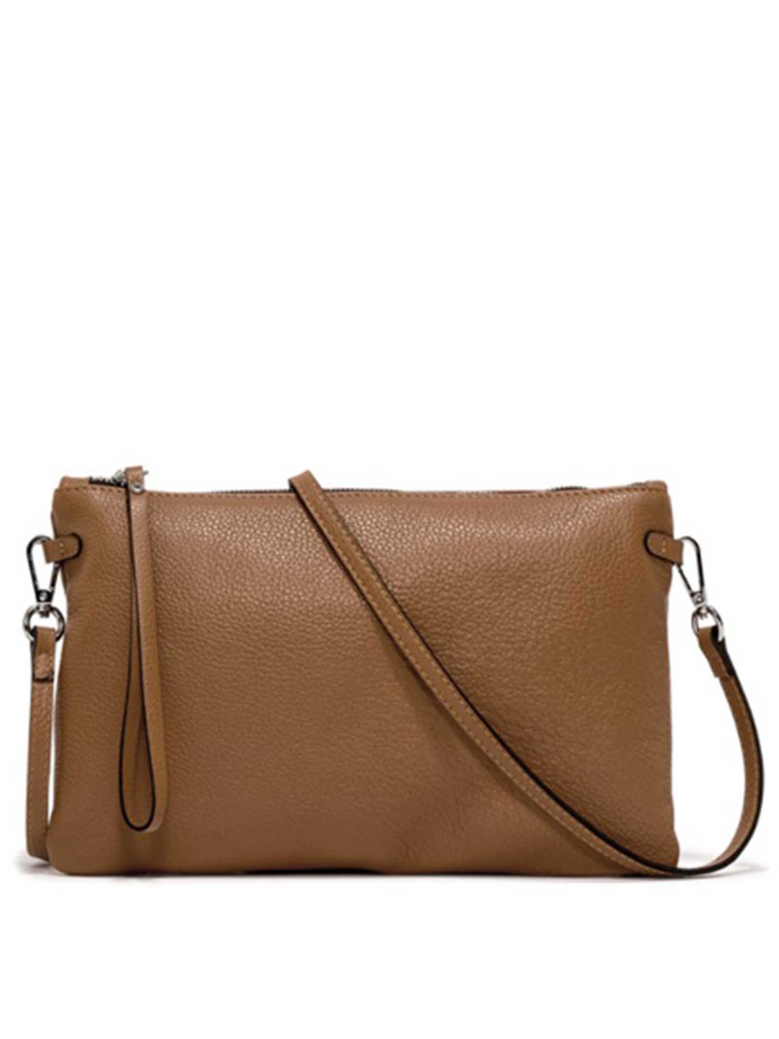 Women's Clutch Bag Maxi Hermy in Camel Leather with Handle And Cross-body Strap Adjustable And Detachable Gianni Chiarini   Bags and backpacks   BS3695009