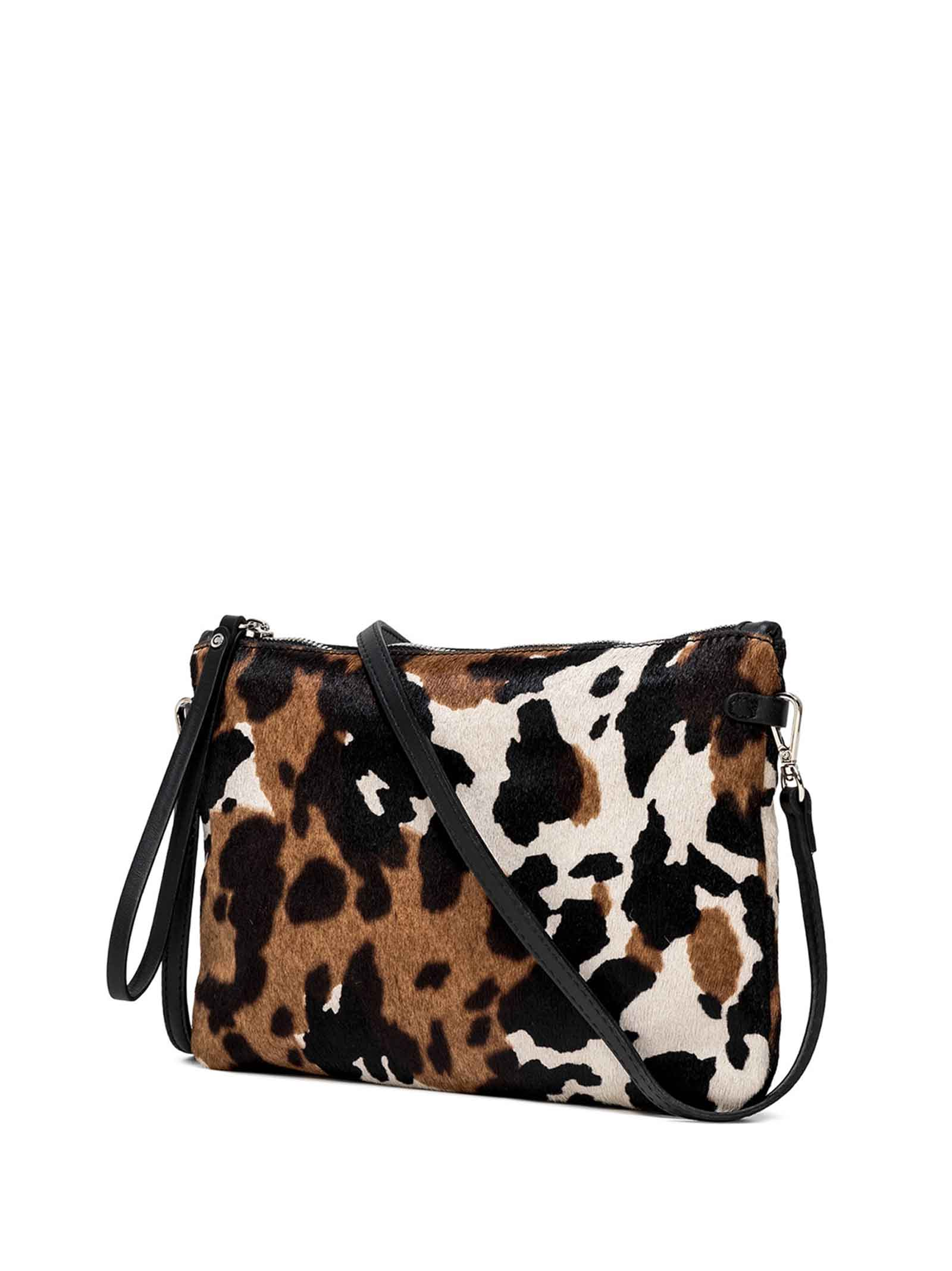 Women's Clutch Bag Maxi Hermy Pony Skin with Black Leather Inserts With Handle And Cross-body Strap Adjustable And Detachable Gianni Chiarini | Bags and backpacks | BS369512181