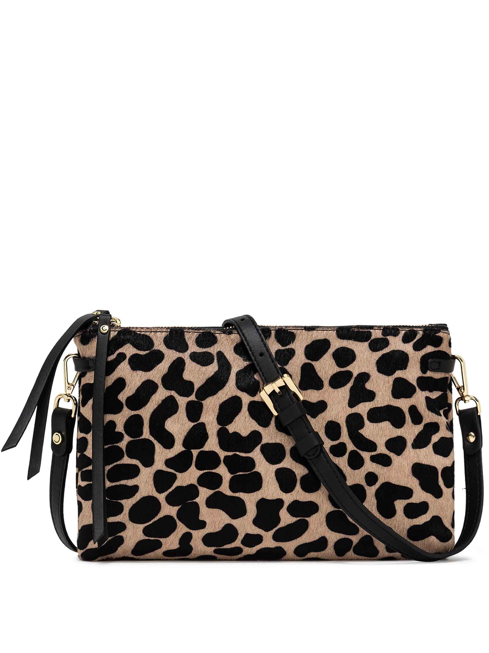 Women's Bag  Double Clutch Hermy In Animalier Pony Skin and Black Leather Adjustable And Detachable Cross-body Strap Gianni Chiarini | Bags and backpacks | BS369710730