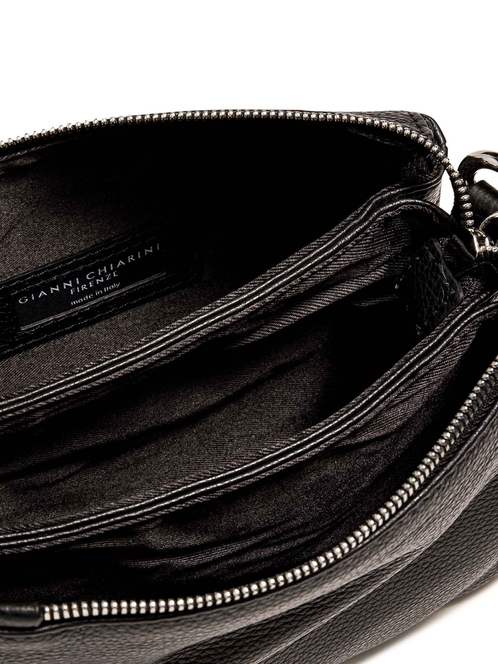 Women's Bag Cross-body Clutch Three In Black Hammered Leather With Adjustable And Detachable Cross-body Strap Gianni Chiarini | Bags and backpacks | BS4362001