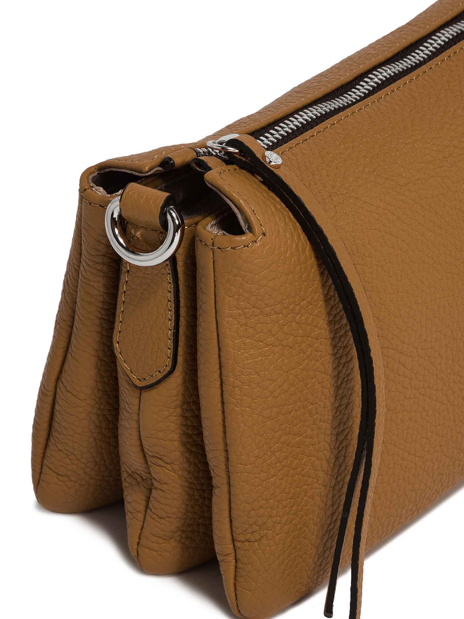 Women's Bag Cross-body Clutch Three In Camel Hammered Leather With Adjustable And Detachable Cross-body Strap Gianni Chiarini | Bags and backpacks | BS4362009
