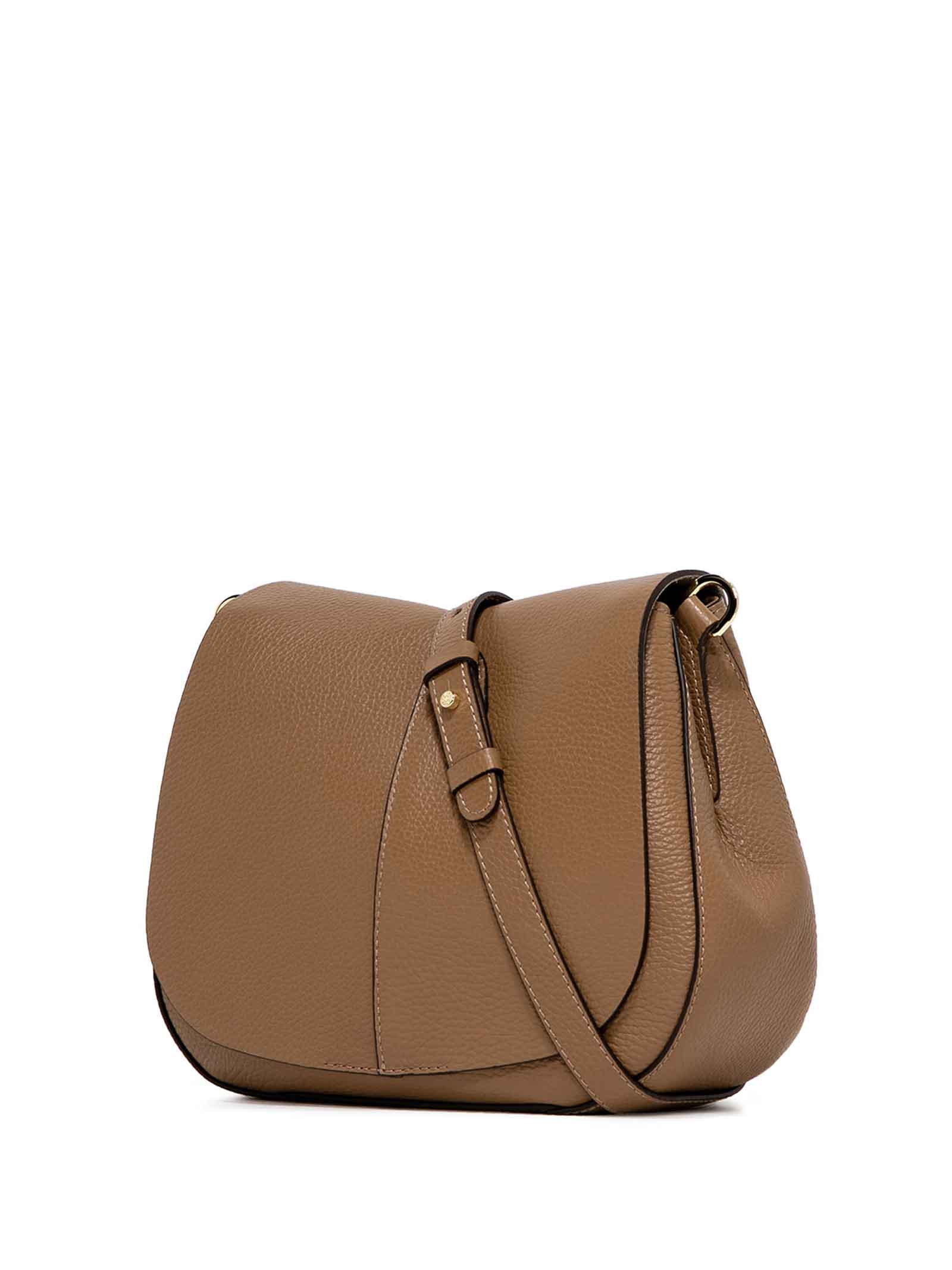 Women's Cross-body Bag Helena Round in Camel Hammered Leather with Flap and Double Adjustable and Detachable Cross-body Strap Gianni Chiarini | Bags and backpacks | BS6036009
