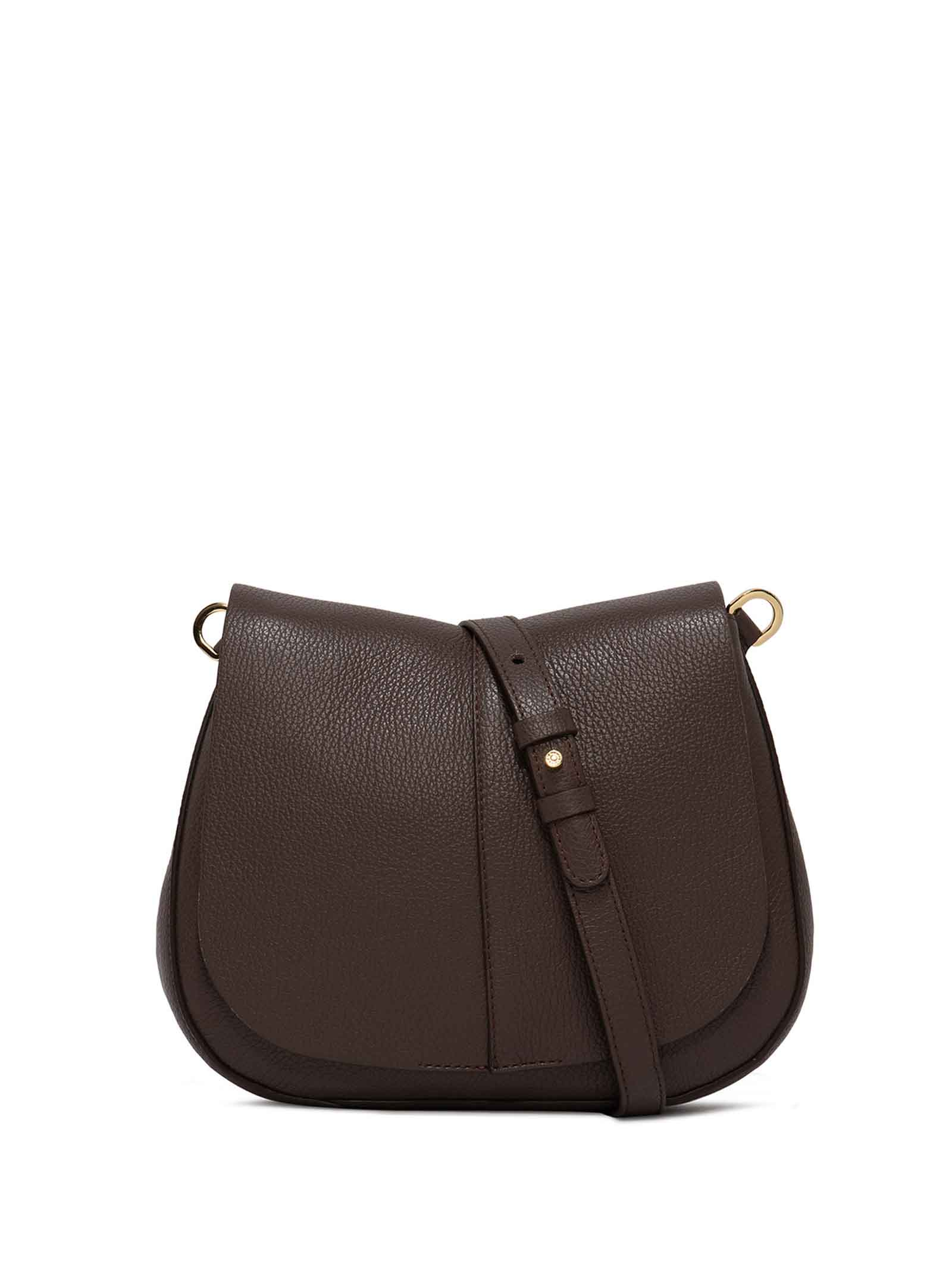 Women's Cross-body Bag Helena Round in Taupe Hammered Leather with Flap and Double Adjustable and Detachable Cross-body Strap Gianni Chiarini   Bags and backpacks   BS6036442