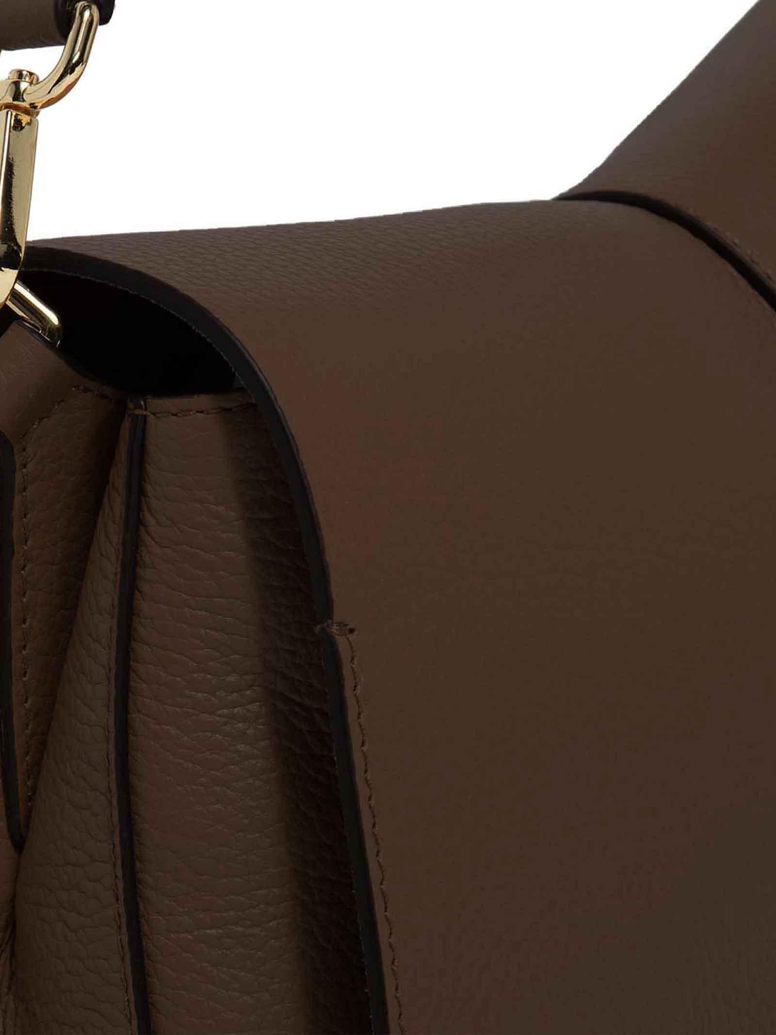 Borsa Donna a Tracolla Maxi Helena Round In Pelle Taupe con Patta e Doppia Tracolla in Tono Regolabili E Removibili Gianni Chiarini | Borse e zaini | BS6037442
