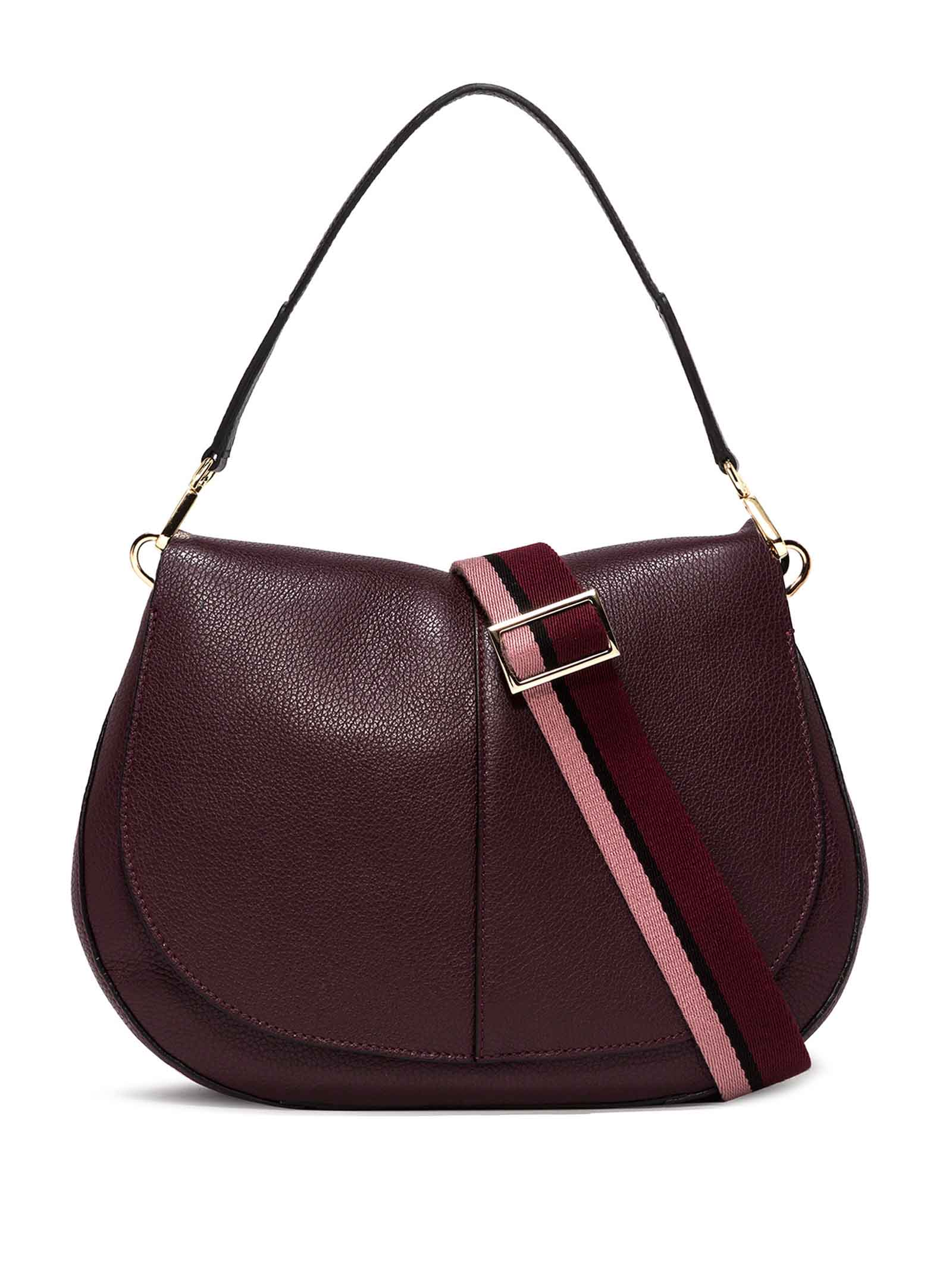 Women's Shoulder Bag Maxi Helena Round in Bordeaux Hammered Leather with Flap and Double Adjustable and Detachable Cross-body Strap Gianni Chiarini   Bags and backpacks   BS60376649