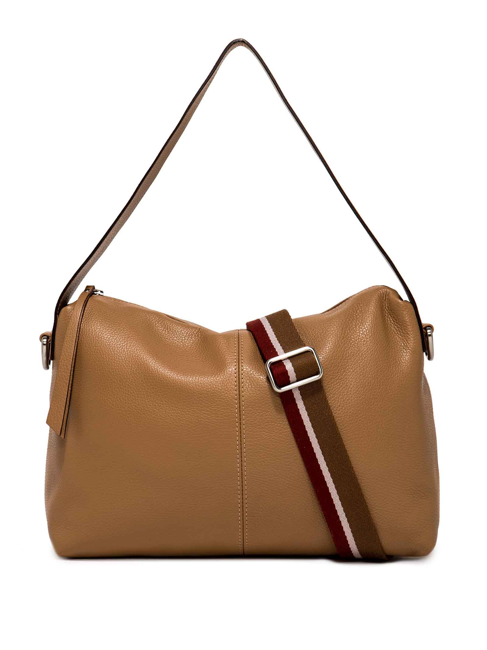Women's Shoulder Bag Giorgia in Camel Hammered Leather With Cross-body Strap In Matching Leather And Cross-body Strap in Fabric Adjustables and Detachables Gianni Chiarini | Bags and backpacks | BS7249009