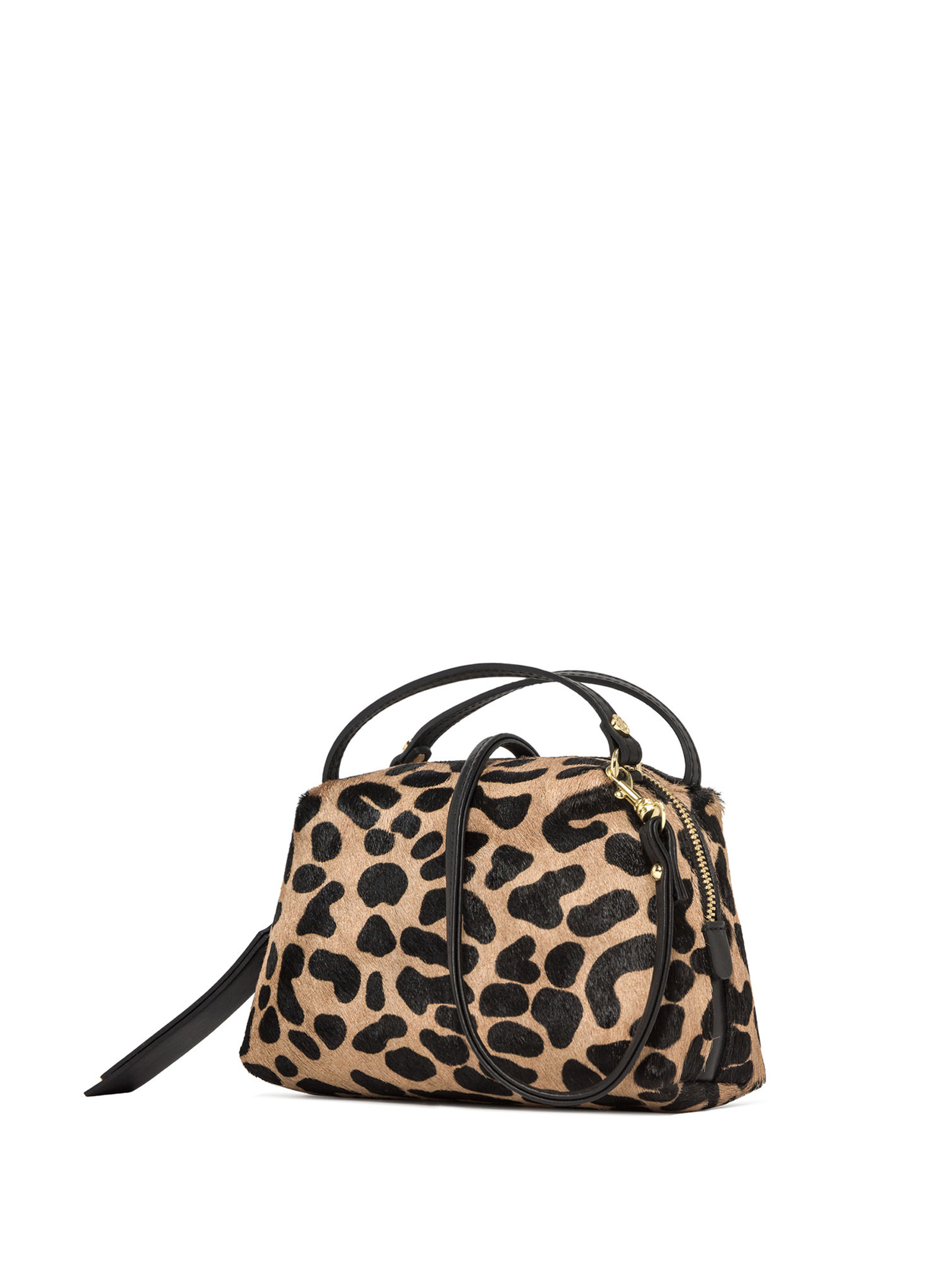 Women's Clutch Bag Mini Alifa In Leopard Pony Skin And Black Leather with Double Handles and Matching Adjustable And Detachable Cross-body Strap Gianni Chiarini   Bags and backpacks   BS814510730
