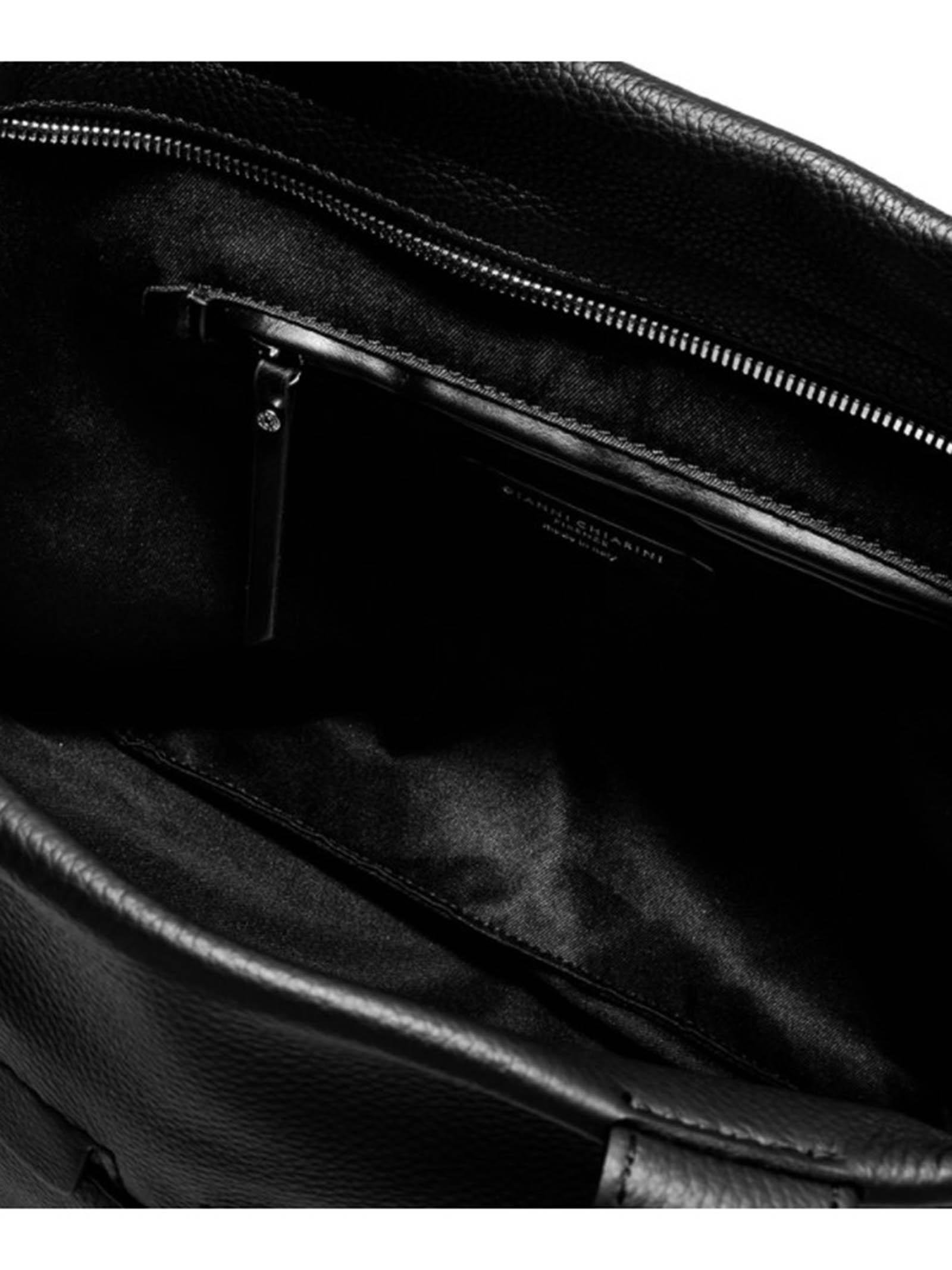 Borsa Donna a Tracolla Duna in Pelle Nera e Camoscio Nero con Doppi Manici in Pelle e Tracolla Regolabile e Removibile Gianni Chiarini | Borse e zaini | BS8232015