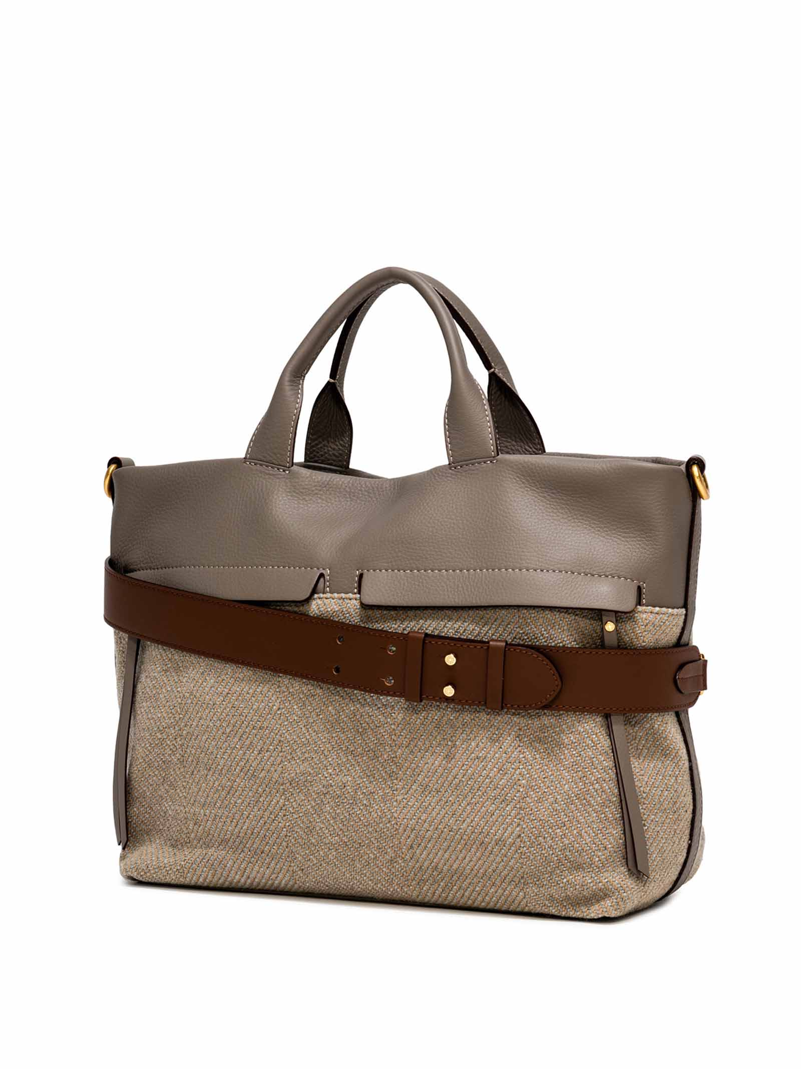 Women's Cross-body Bag Duna In Grey Leather And Herringbone Fabric In Matching With Double Leather Handles And Adjustable And Detachable Cross-body leather Strap Gianni Chiarini   Bags and backpacks   BS823212184