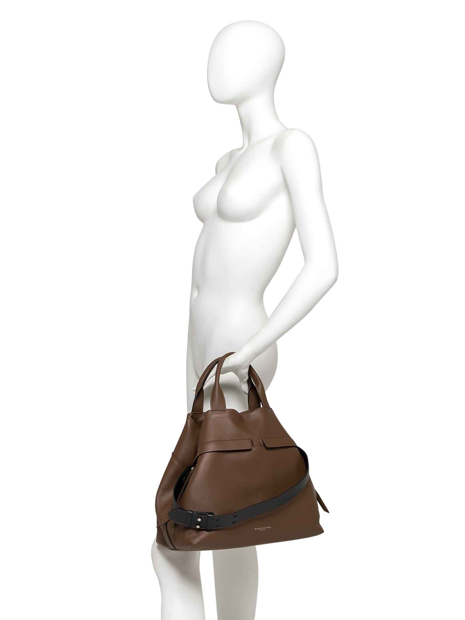Women's Cross-body Bag Duna In Taupe Leather And Black Suede With Double Leather Handles And Adjustable And Detachable Cross-body leather Strap Gianni Chiarini | Bags and backpacks | BS82324176