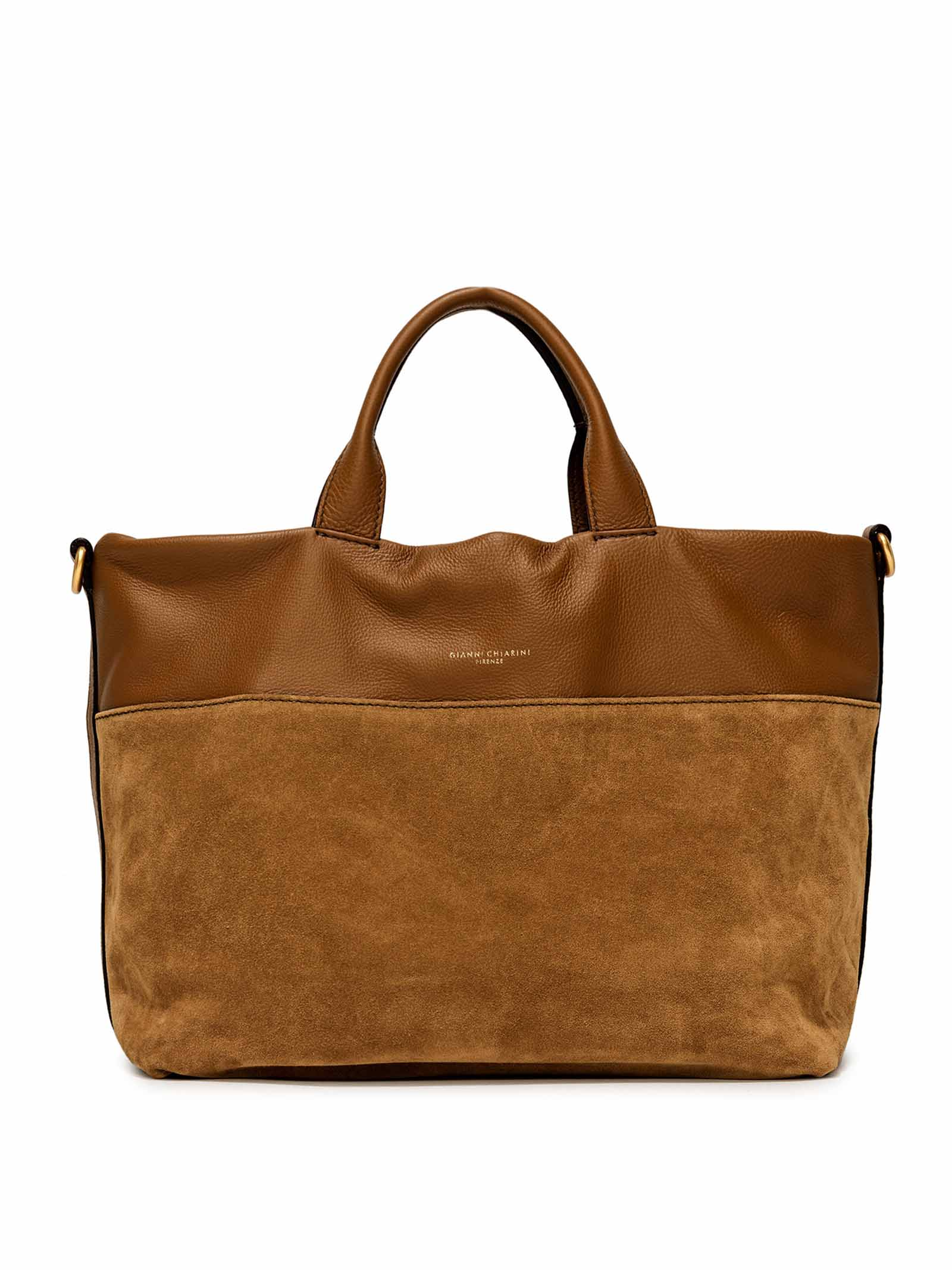 Women's Cross-body Bag Duna In Tan Leather And Color Matching Suede With Double Leather Handles And Adjustable And Detachable Cross-body leather Strap Gianni Chiarini | Bags and backpacks | BS825211130