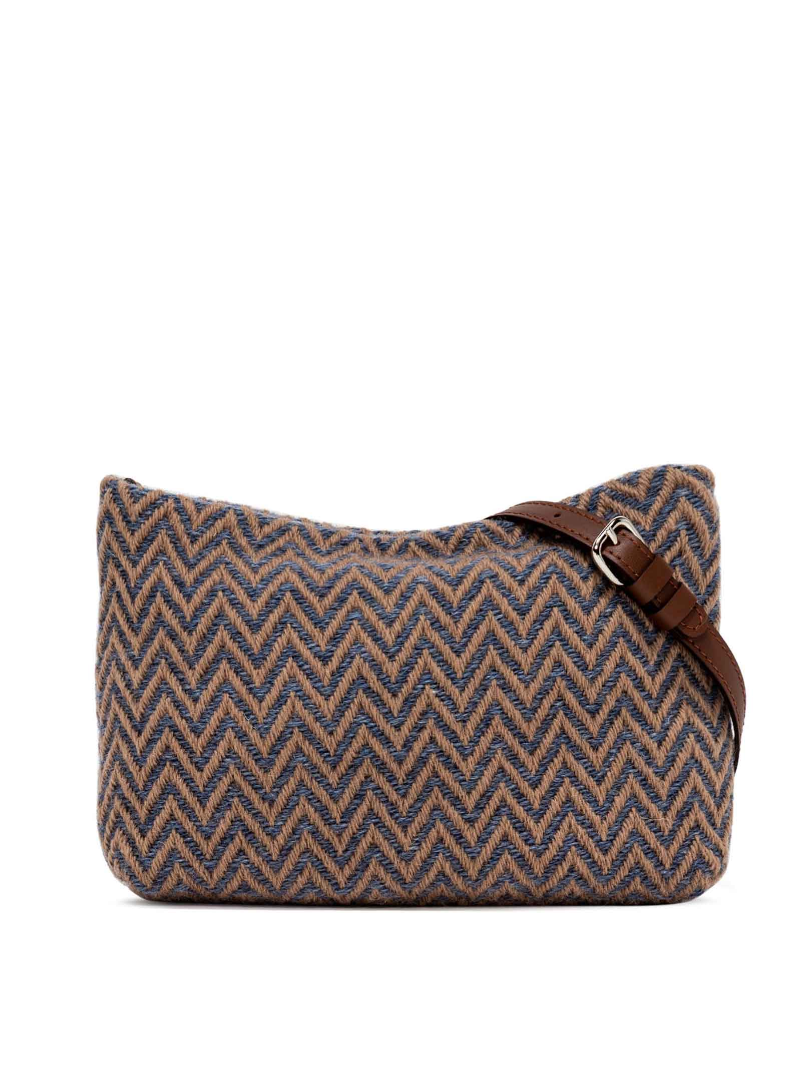 Woman's Shoulder Bag Mini Brenda In Brown Leather And Herringbone Fabric With Color Matched Chain And Adjustable And Detachable Cross-body Strap Gianni Chiarini | Bags and backpacks | BS826512161