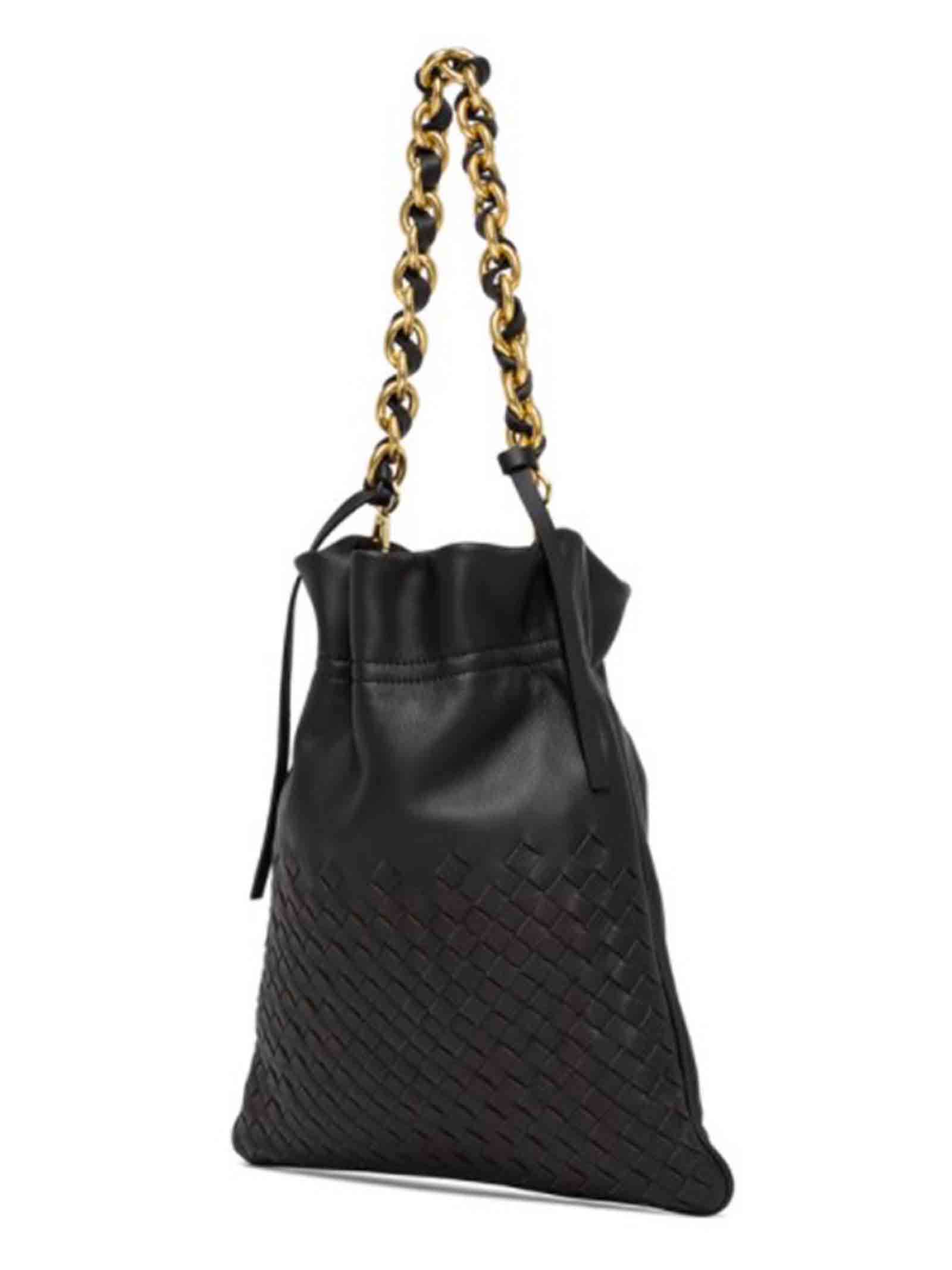 Women's Shoulder Bag Small Memory In Black Leather With Gold Chain Handle and Adjustable and Detachable Leather Cross-body Strap in Matching Color Gianni Chiarini | Bags and backpacks | BS8381001