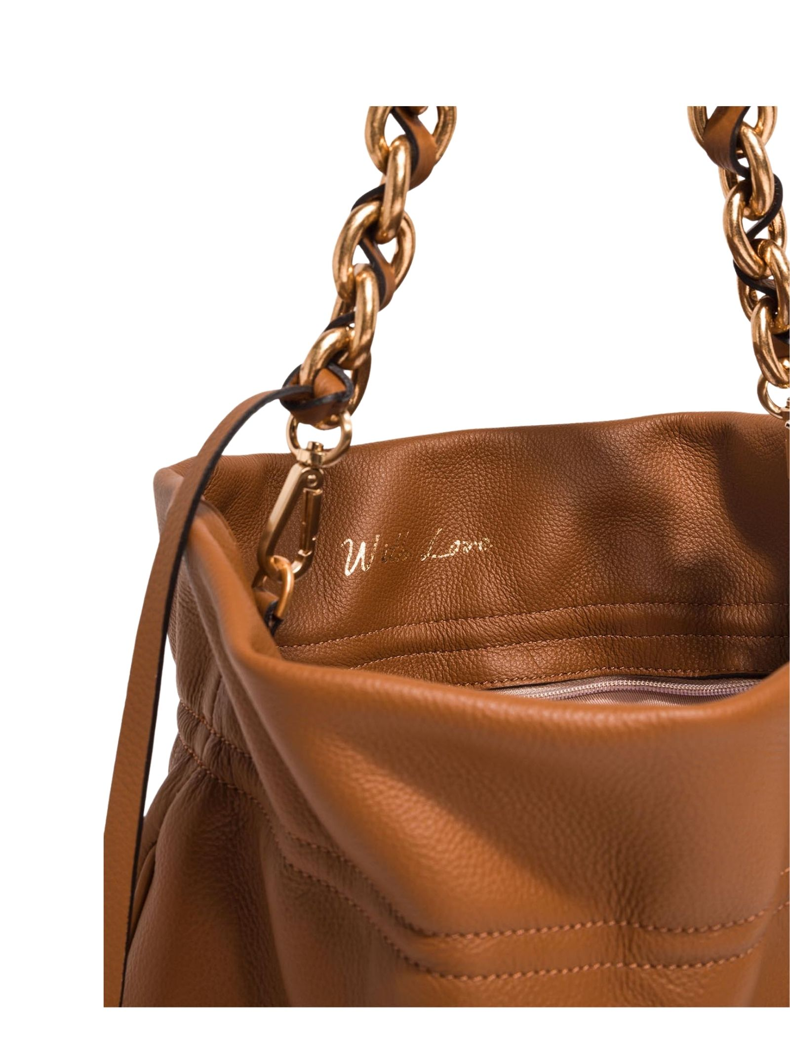 Women's Shoulder Bag Small Memory In Tan Leather With Gold Chain Handle and Adjustable and Detachable Leather Cross-body Strap in Matching Color Gianni Chiarini | Bags and backpacks | BS8381206