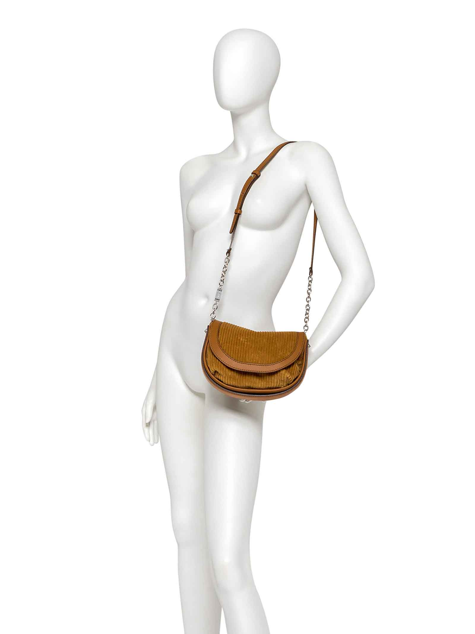 Women's Clutch Bag Diana In Velvet And Tan Leather With Adjustable and Detachable Leather Cross-body Strap in Matching Color Gianni Chiarini | Bags and backpacks | BS839511130