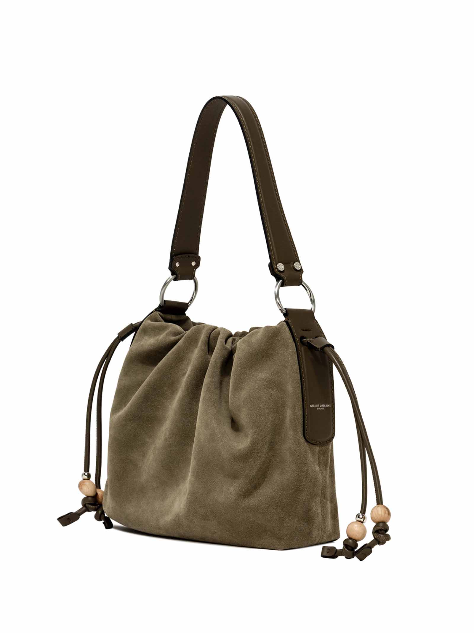 Women's Shoulder Bag Peonia In Taupe Suede with Cross-body Strap In Matching Color and Drawstring Closure Gianni Chiarini | Bags and backpacks | BS842012140