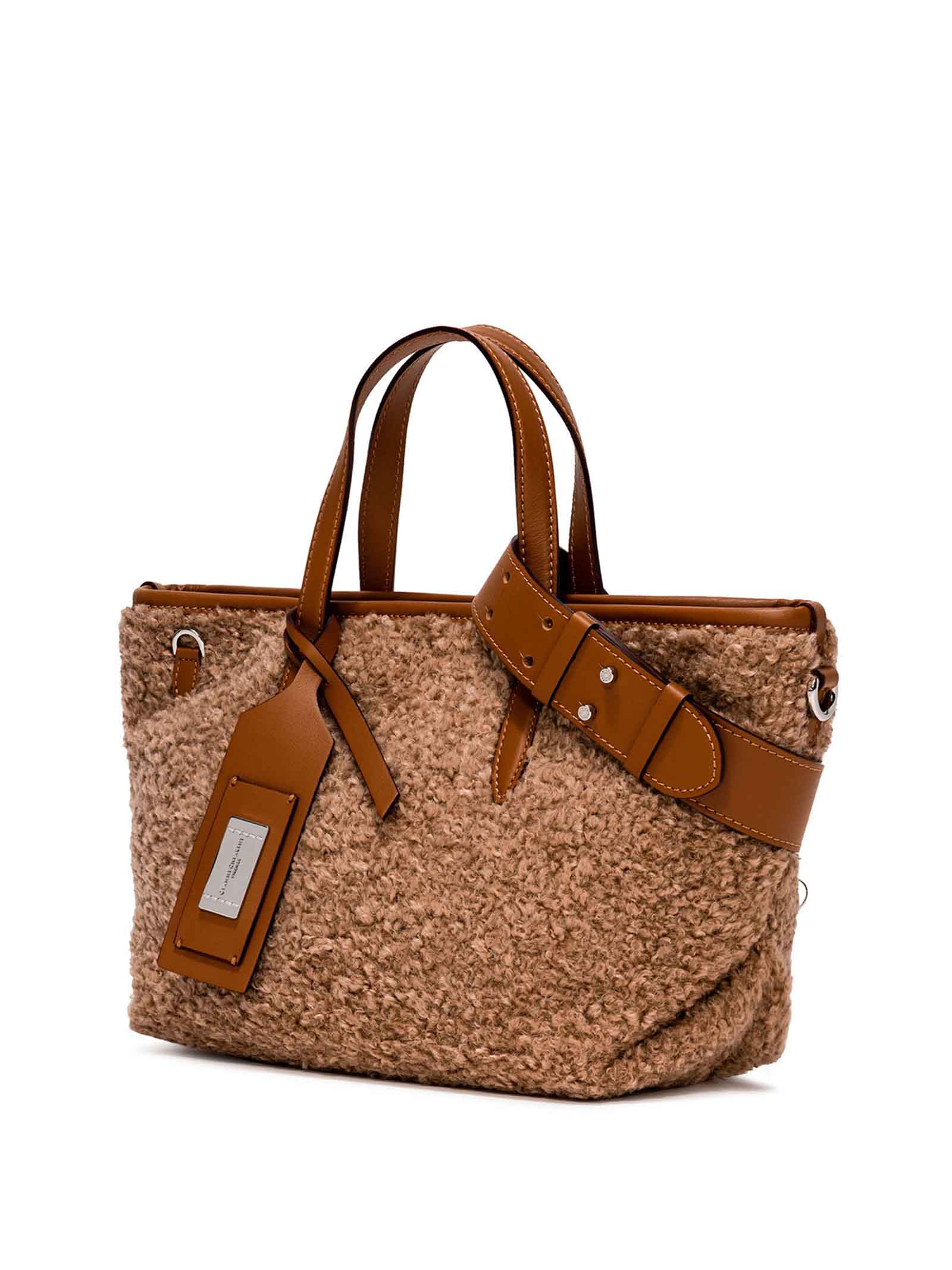 Women's Shoulder Bag Atena in Leather and Tan Wool with Adjustable and Detachable Leather Cross-body Strap Gianni Chiarini   Bags and backpacks   BS860011567