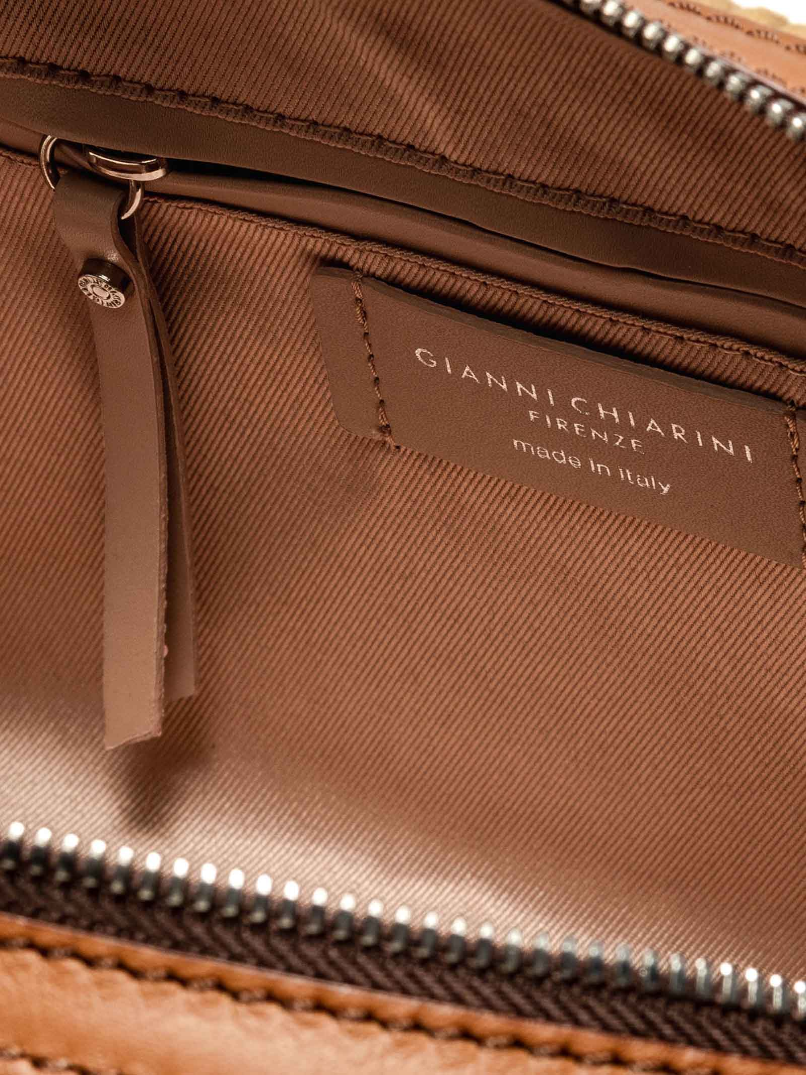 Women's Shoulder Bag Alifa in Tan Velvet and Leather with Double Handles and Adjustable And Detachable Shoulder Strap in Color Matched Gianni Chiarini | Bags and backpacks | BS864811130