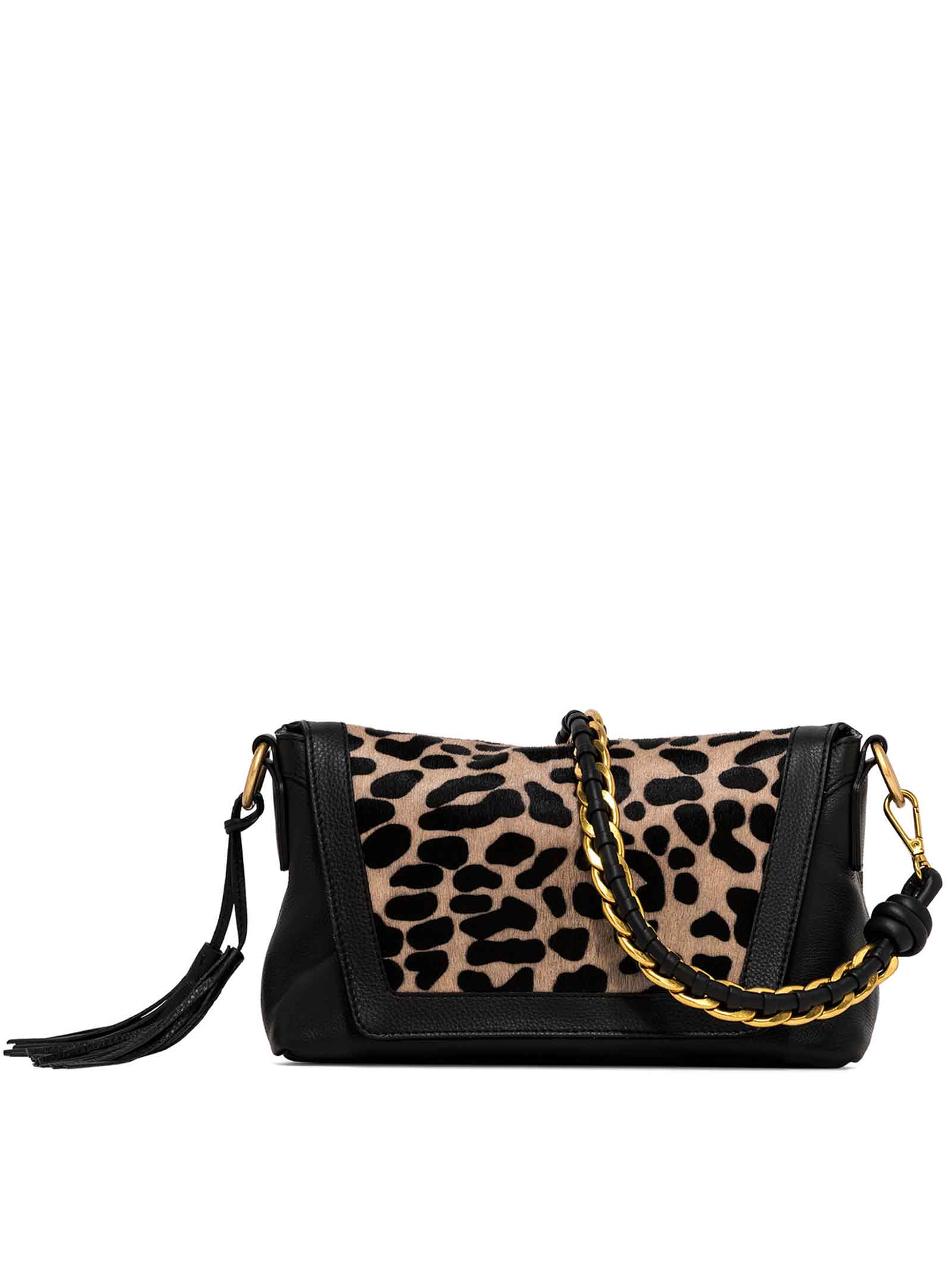 Women's Shoulder Bag Africa in Black Leather And Pony Skin Braided Handle and Adjustable and Detachable Leather Cross-body Strap Gianni Chiarini   Bags and backpacks   BS868610730