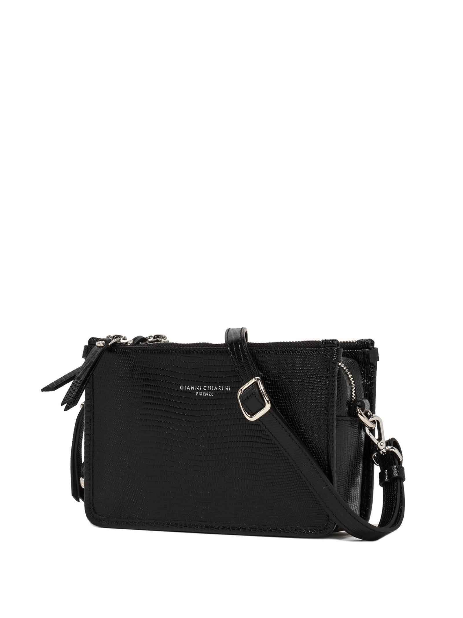 Women's Clutch Bag Debbie in Black Tejus Printed Leather with Adjustable and Detachable Tone Shoulder Strap Gianni Chiarini | Bags and backpacks | BS8790001