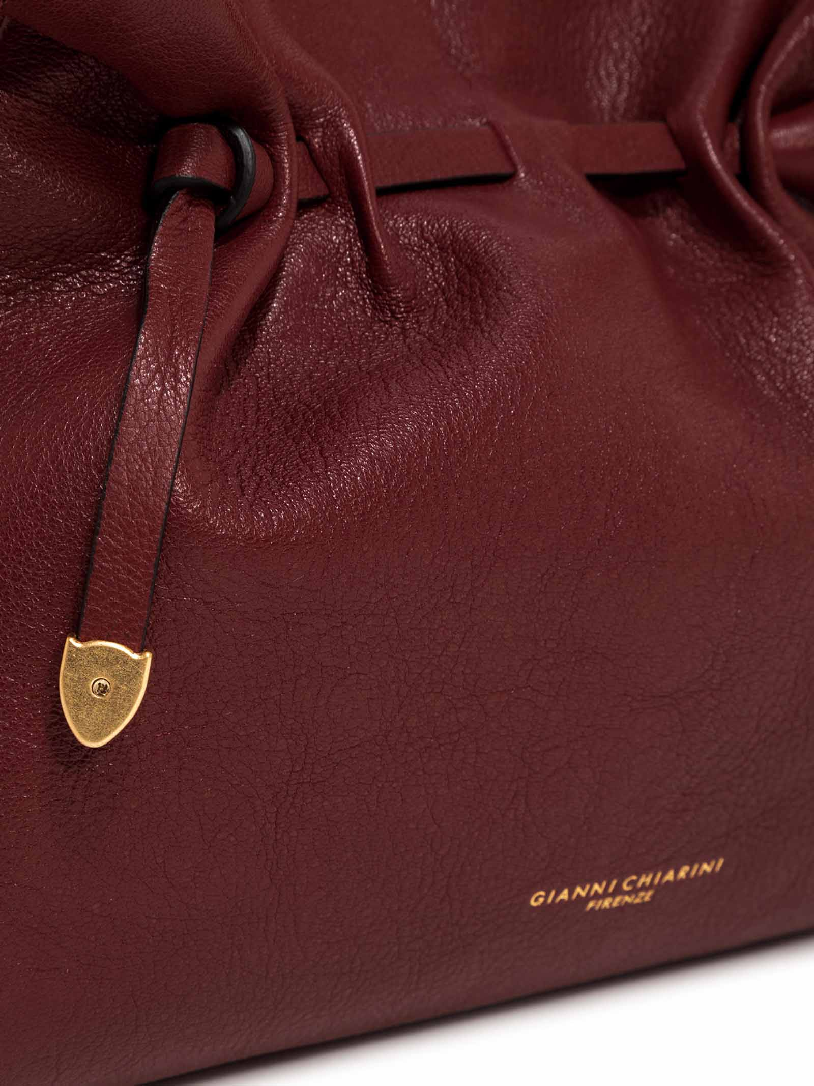 Women's Shoulder Bag Dollie In Bordeaux Patent Leather Coulisse Closure And Handle In Braided Rope In Color Matched With Adjustable And Detachable Leather Cross-body Strap. Gianni Chiarini   Bags and backpacks   BS88016731