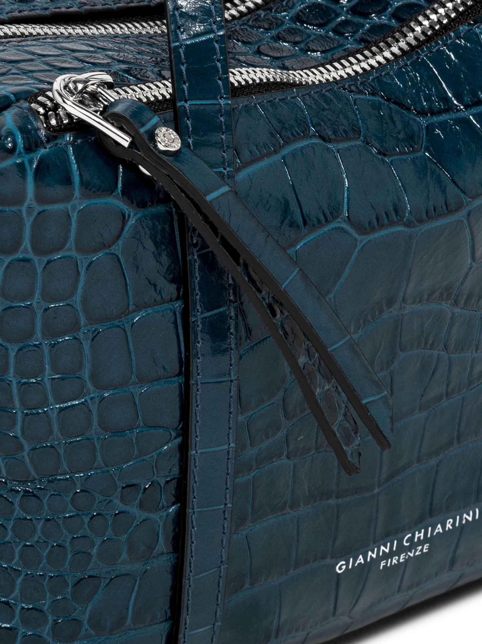 Borsa Donna Pochette Tracy a Tracolla in Pelle Stampata Cocco Blu Doppi Manici con Tracolla Regolabile e Removibile in Tono Gianni Chiarini   Borse e zaini   BS880512067