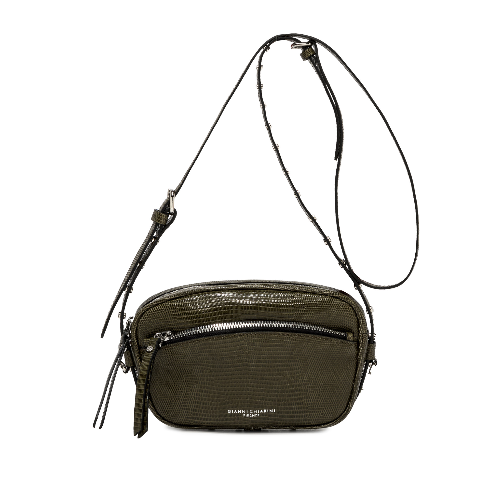 Women's Bag Pouch Molly in Green Animal Print Leather with Mini Studs and Matching Shoulder Strap Gianni Chiarini   Bags and backpacks   BS88457390