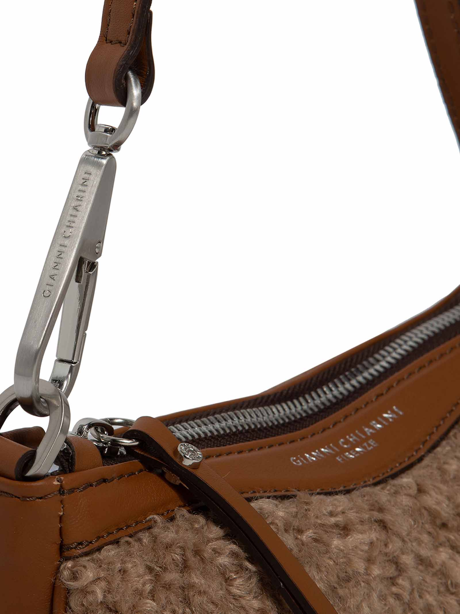 Women's Shoulder Bag Brooke in Bouclè Fabric and Tan Leather Inserts with Detachable Handle and Cross-body Strap in Color Matching Gianni Chiarini | Bags and backpacks | BS886011567