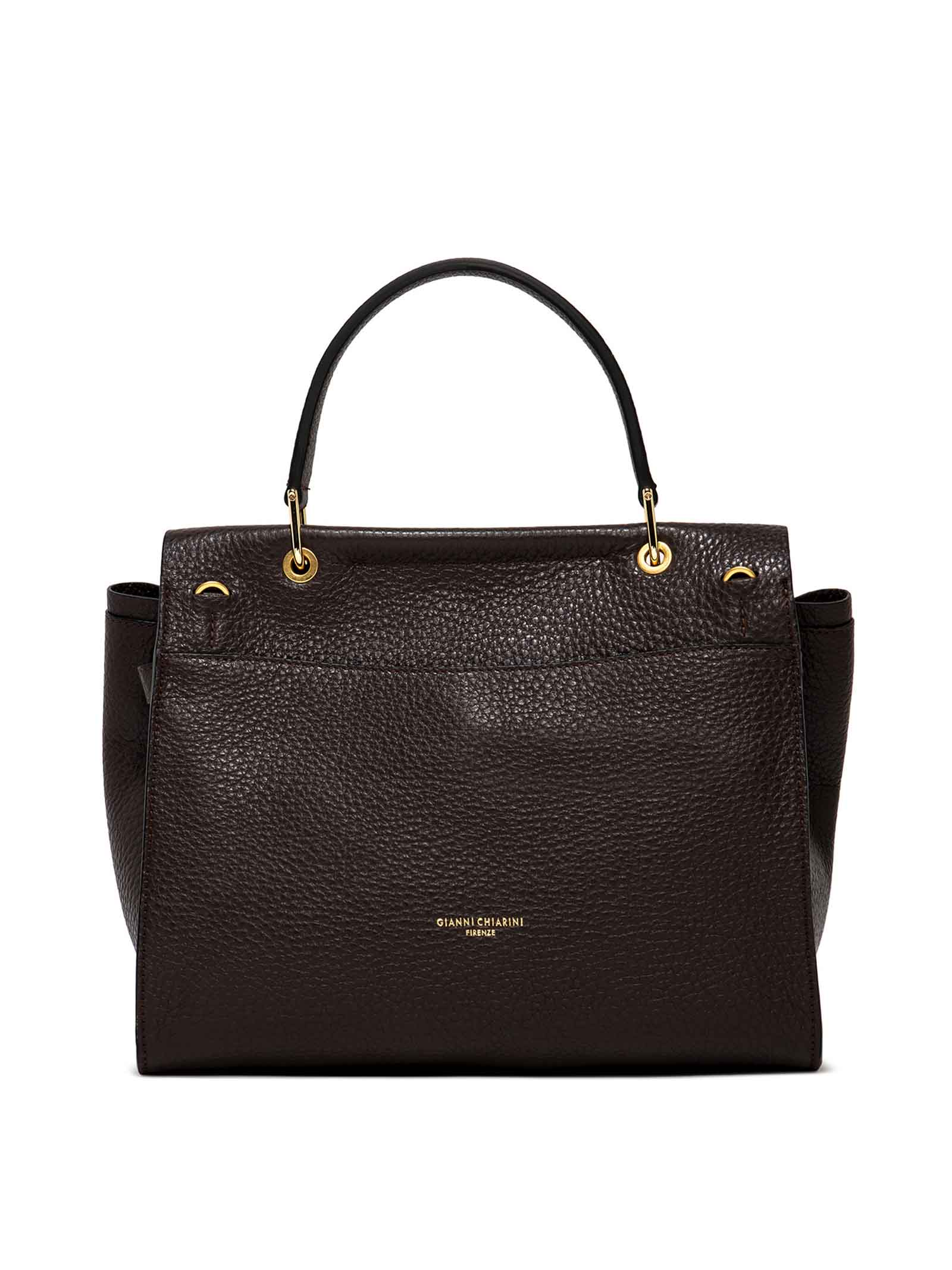 Women's Shoulder Bag Elettra in Dark Brown Grained Leather with Adjustable and Detachable Fabric Shoulder Strap Gianni Chiarini   Bags and backpacks   BS90029017