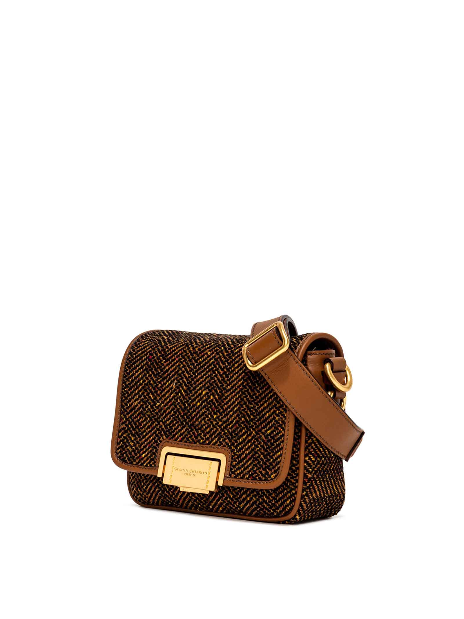 Women's Alyssa Shoulder Bag in Tan Fabric with Tone Leather Inserts and Adjustable Leather Shoulder Strap and Gold Buckle Gianni Chiarini | Bags and backpacks | BS902010313