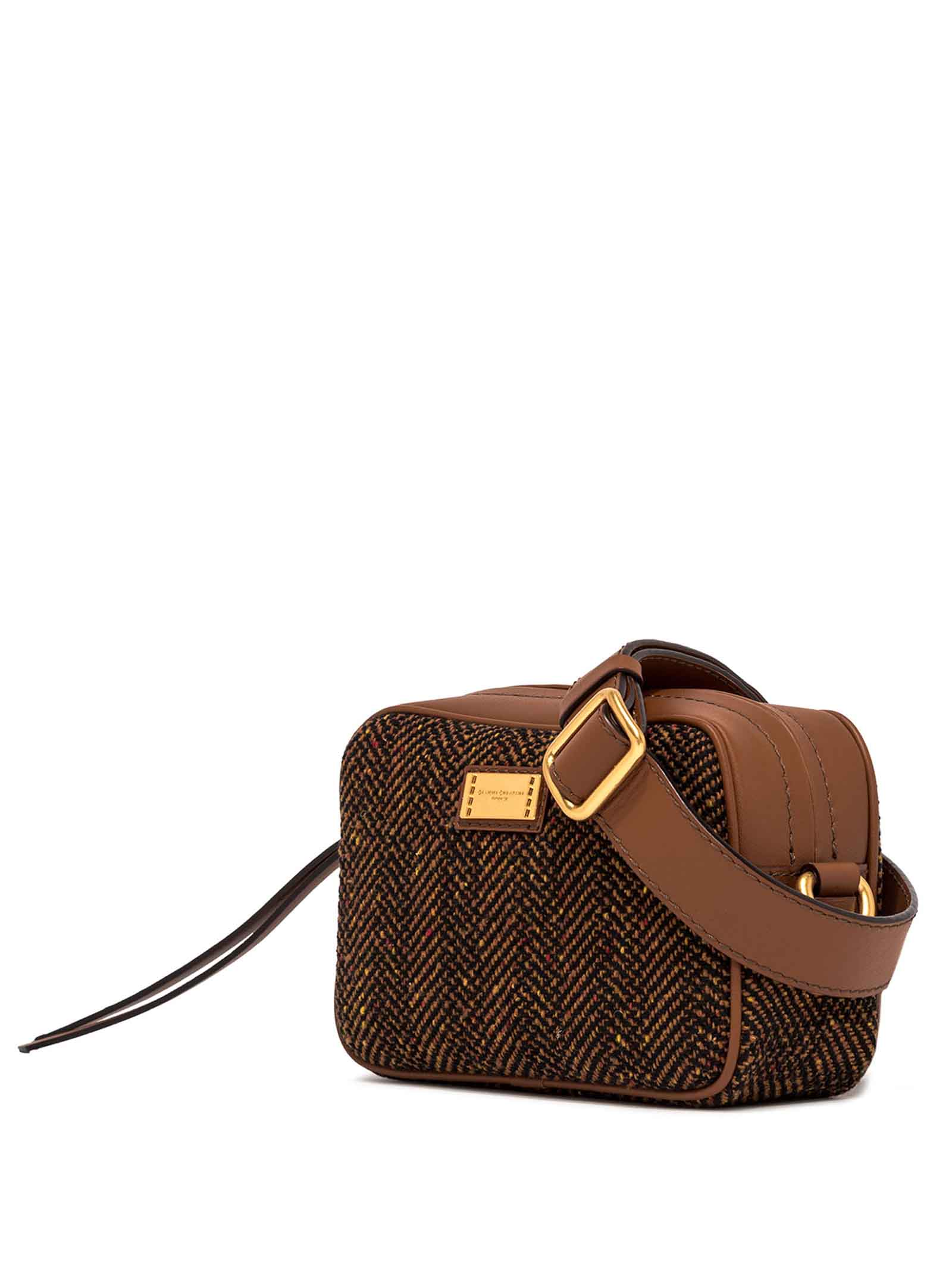 Women's Alyssa Bowling Shoulder Bag in Tan Fabric with Tone Leather Inserts and Adjustable Leather Shoulder Strap and Gold Buckle Gianni Chiarini | Bags and backpacks | BS902110313