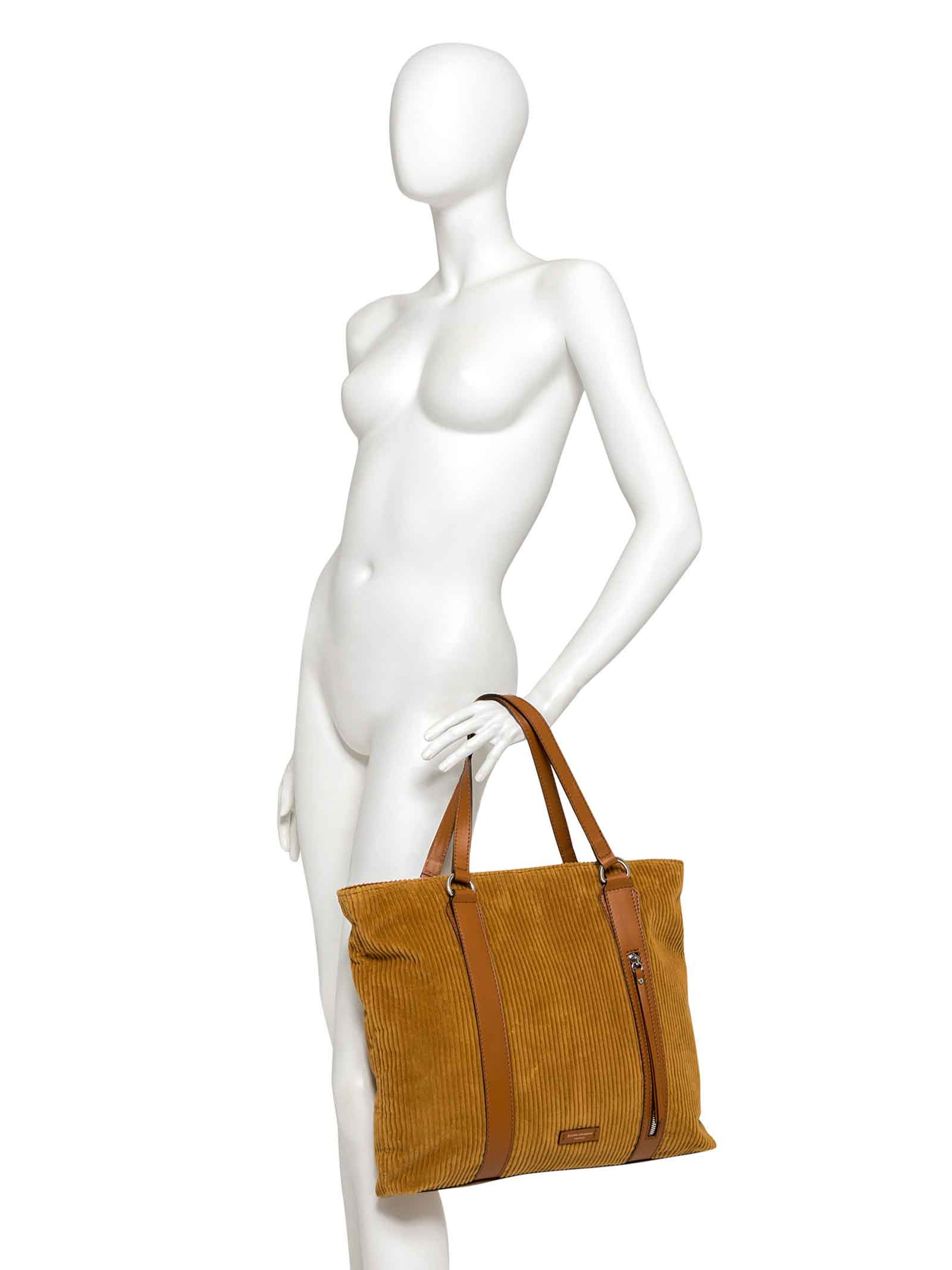 Women's Shopping Bag Glenn in Tan Velvet with Matching Leather Inserts and Double Shoulder Handles Gianni Chiarini | Bags and backpacks | BS934511130