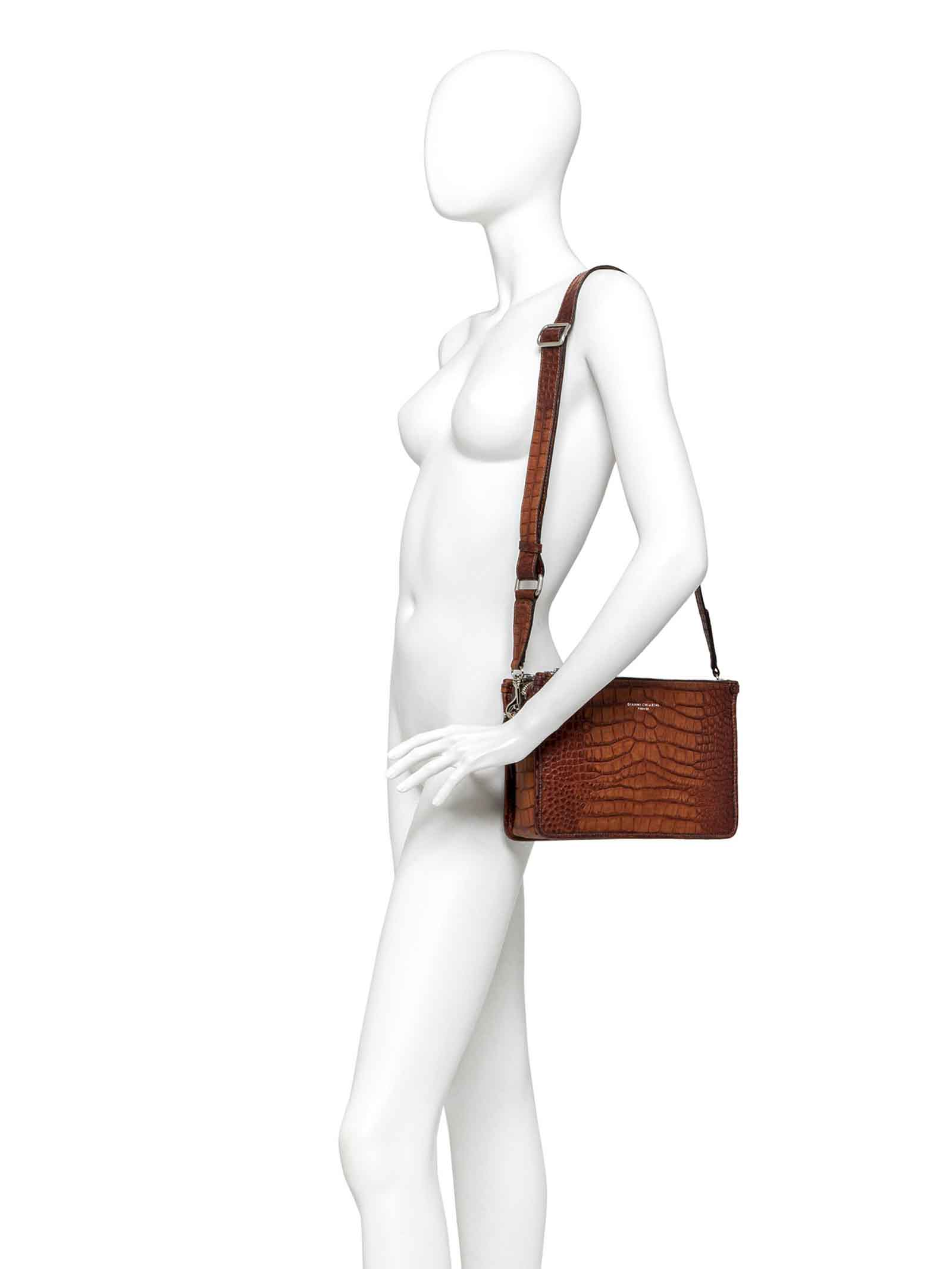 Women's Maxi Shoulder Bag Debbie in Coconut Tan Printed Leather with Adjustable Leather Strap Gianni Chiarini   Bags and backpacks   BS9381166