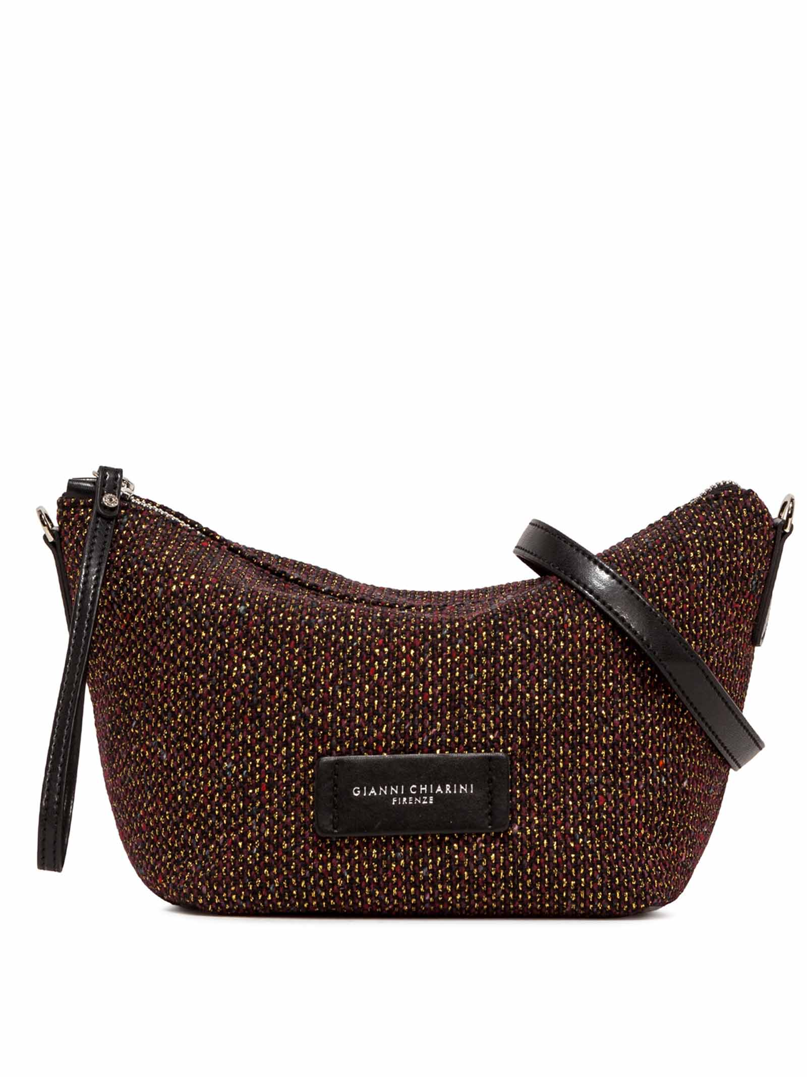 Women's Accessories Small Empty Bag in Bordeaux And Black Fabric with Leather Shoulder Strap and Bracelet Gianni Chiarini | Bags and backpacks | SB9390011