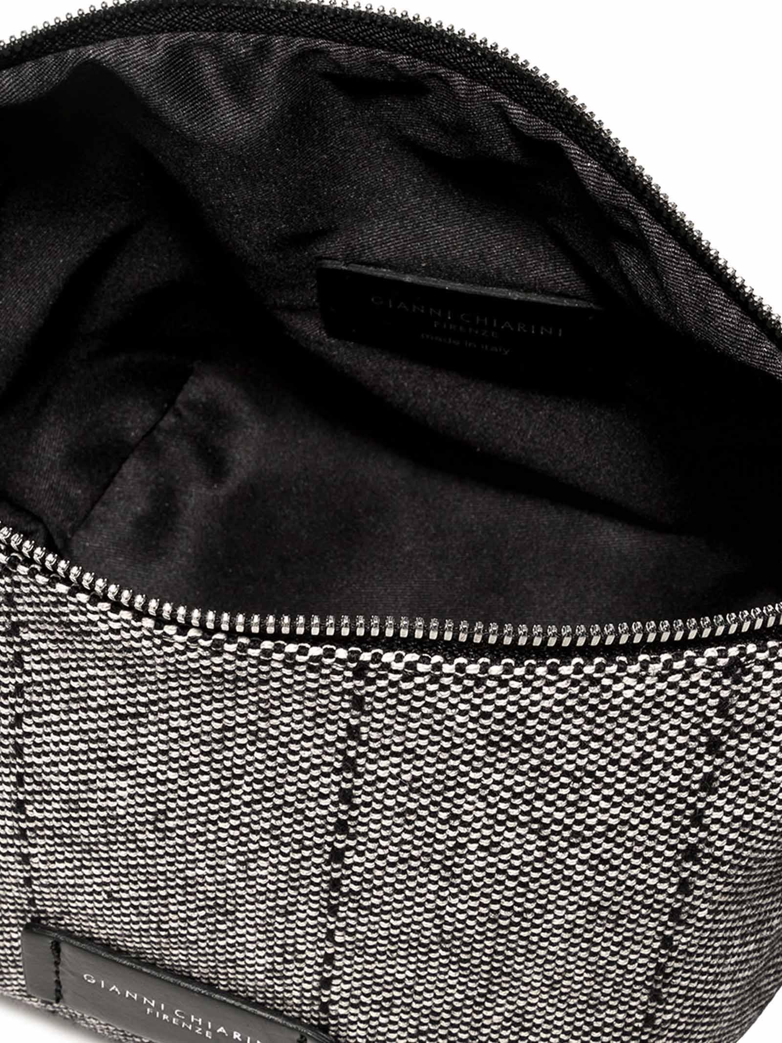 Accessori Donna Piccolo Svuota Borse in Tessuto Grigio e Nero con Tracolla e Bracciale in Pelle Gianni Chiarini | Borse e zaini | SB9390052W