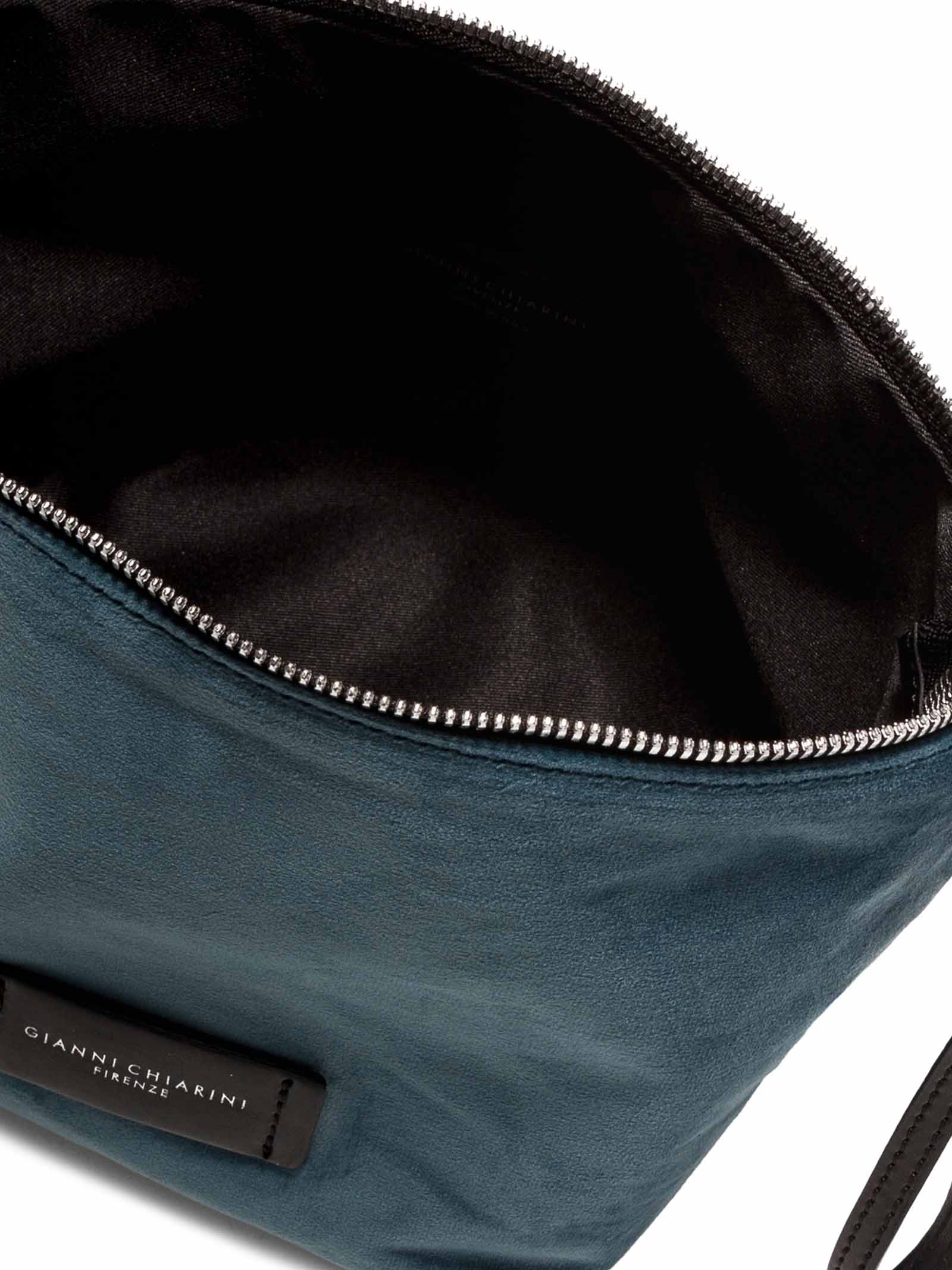 Women's Accessories Small Empty Bag in Blue Velvet with Leather Shoulder Strap and Bracelet Gianni Chiarini | Bags and backpacks | SB939012252